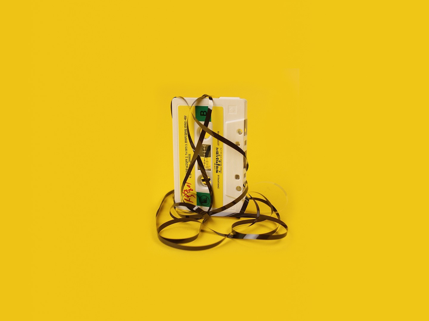 Minimalistic cassette simple background yellow wallpaper ...