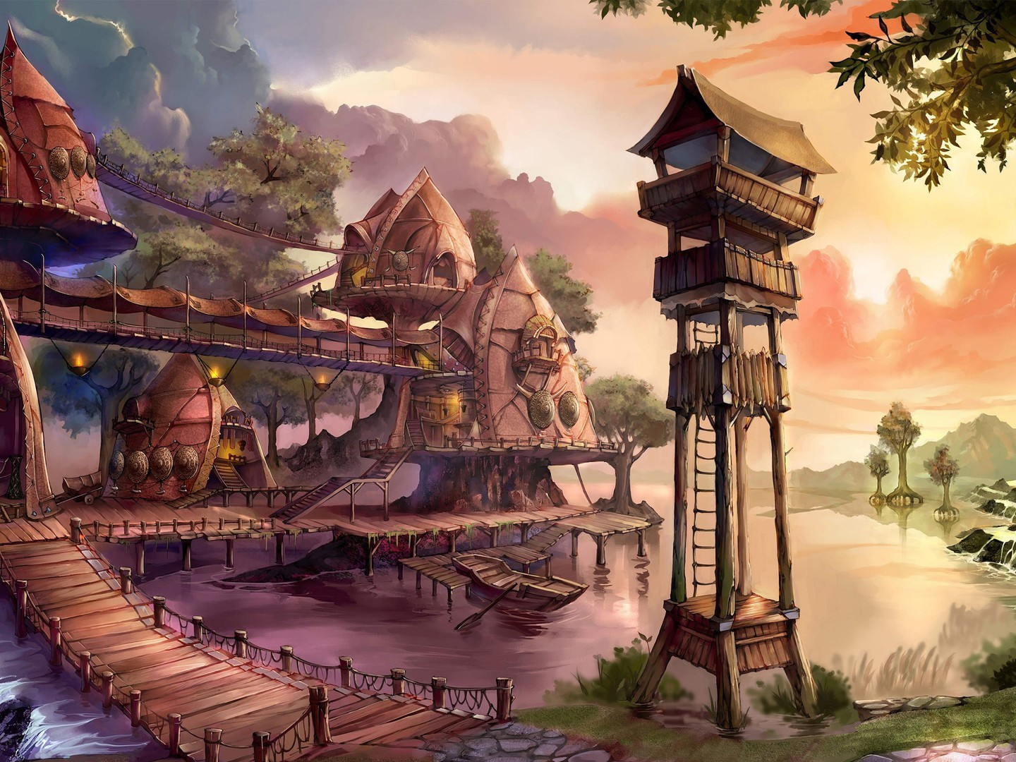 Fantasy village wallpaper 6664 pc en - Art village wallpaper ...