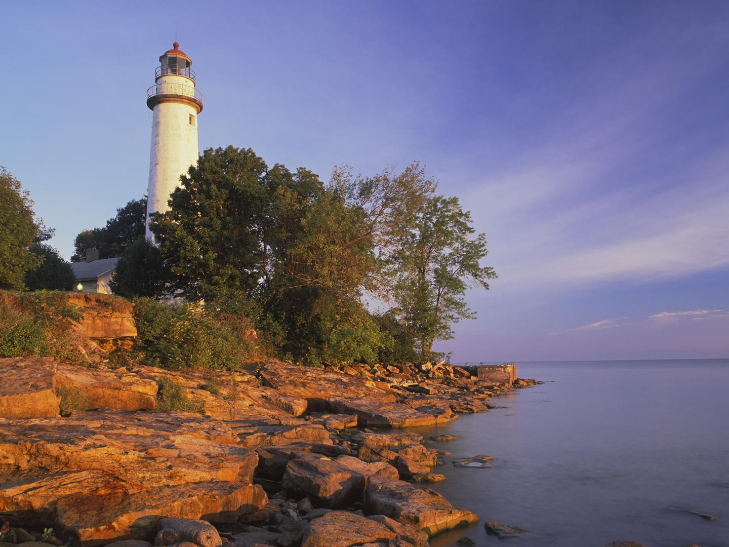 pointe aux barques lighthouse lake huron wallpaper