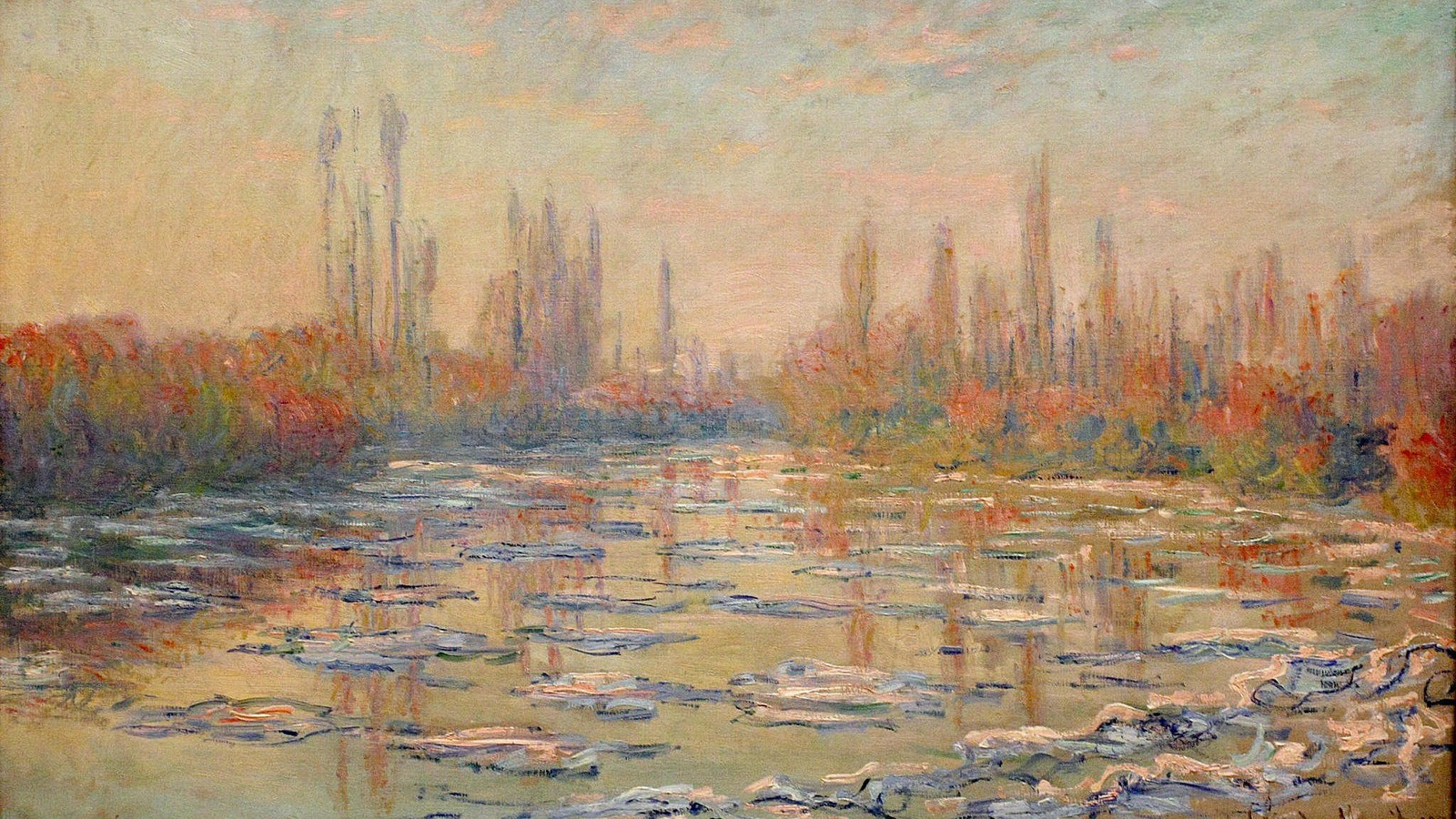 paintings ice rivers seine claude monet impressionism