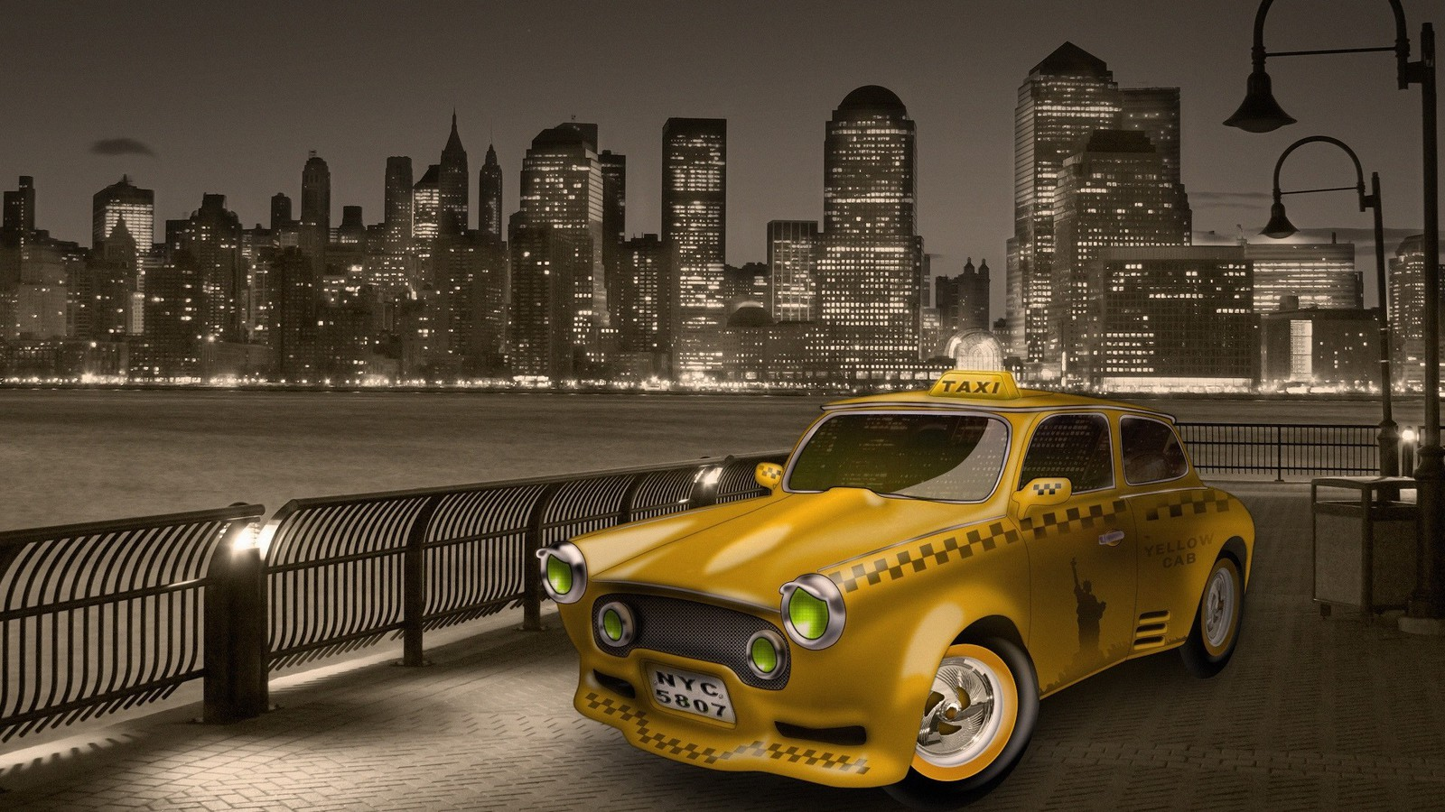 new york city taxi cab wallpaper 7443 pc en. Black Bedroom Furniture Sets. Home Design Ideas