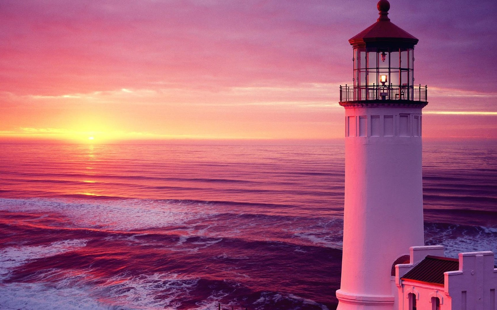 North head lighthouse in pink wallpaper | AllWallpaper.in ...