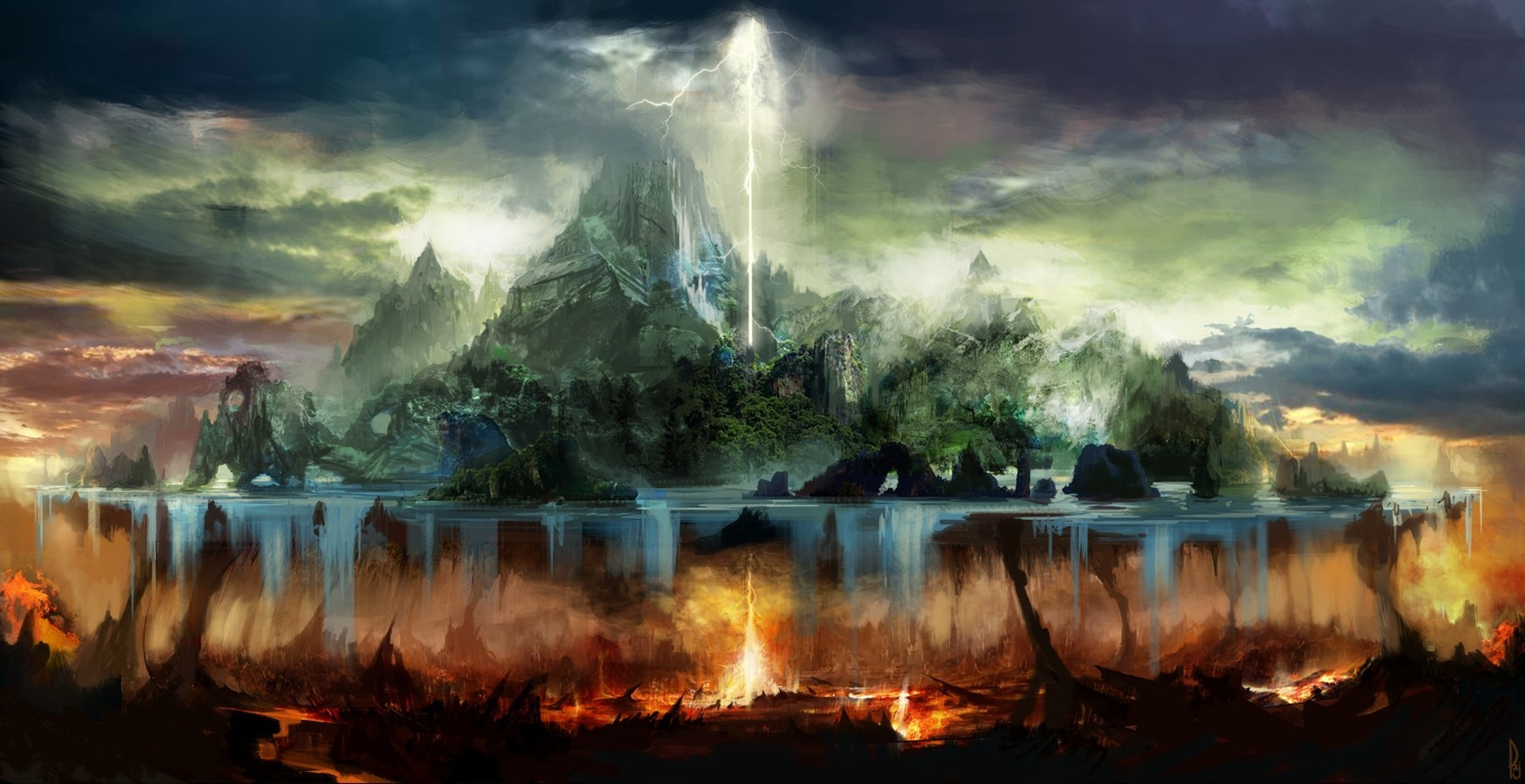 Trees fire hell rocks islands artwork lightning wallpaper trees fire hell rocks islands artwork lightning wallpaper voltagebd Image collections