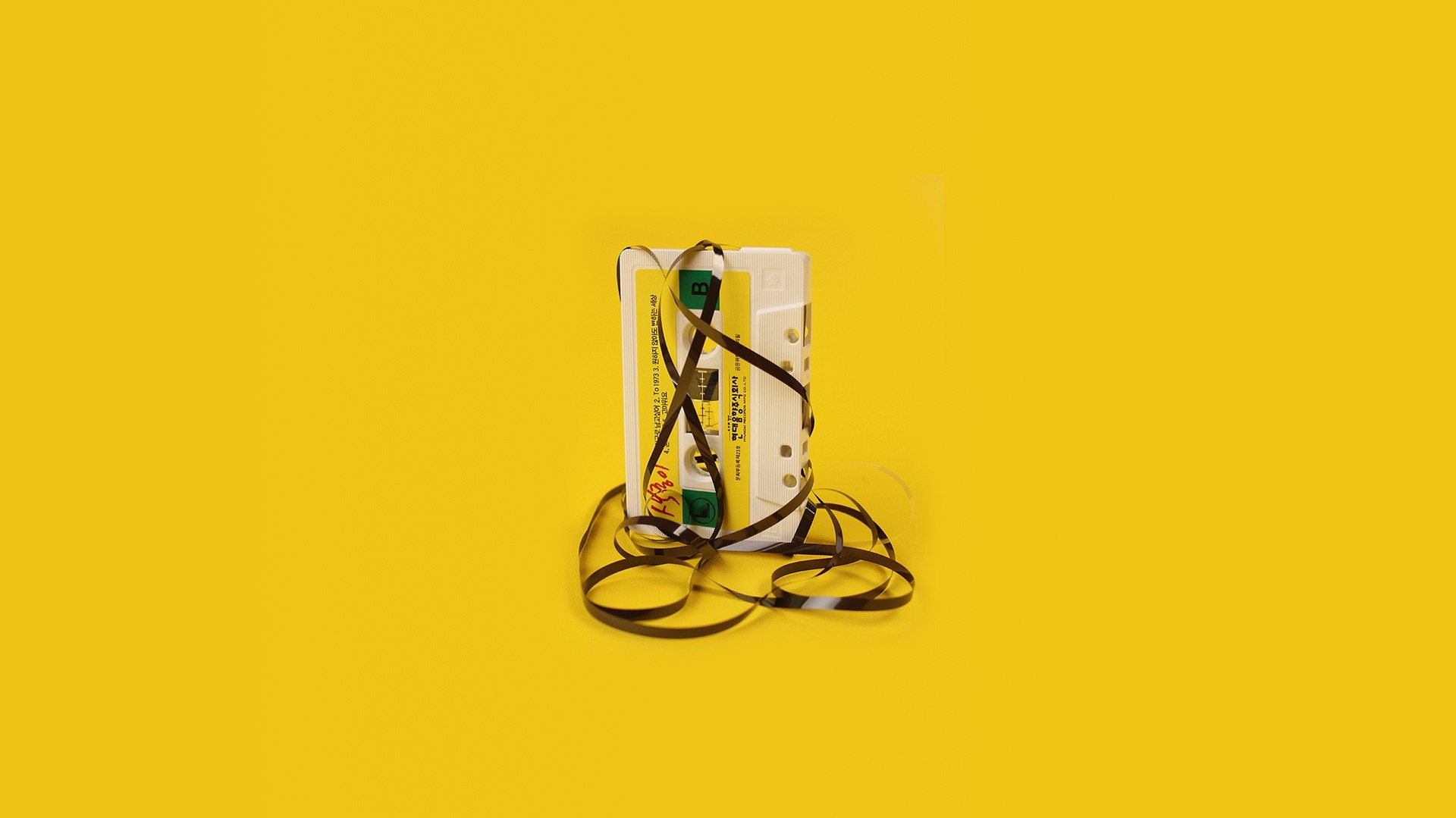 Minimalistic Cassette Simple Background Yellow Wallpaper