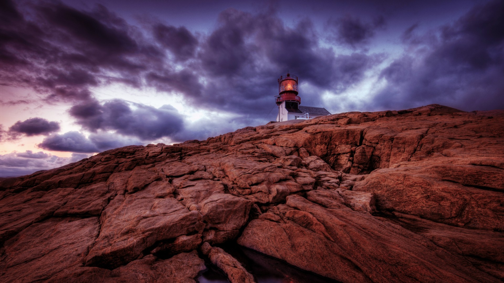 fantastic lighthouse on a rocky cliff hdr wallpaper | allwallpaper