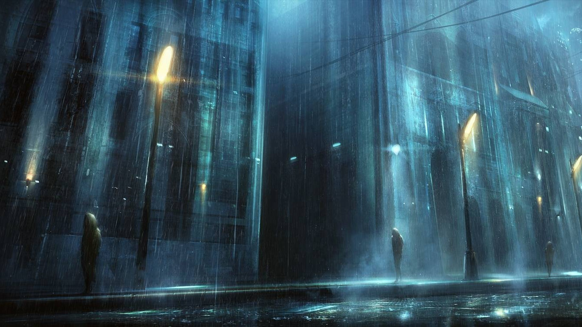 Night rain artwork cities wallpaper - Anime rain wallpaper ...