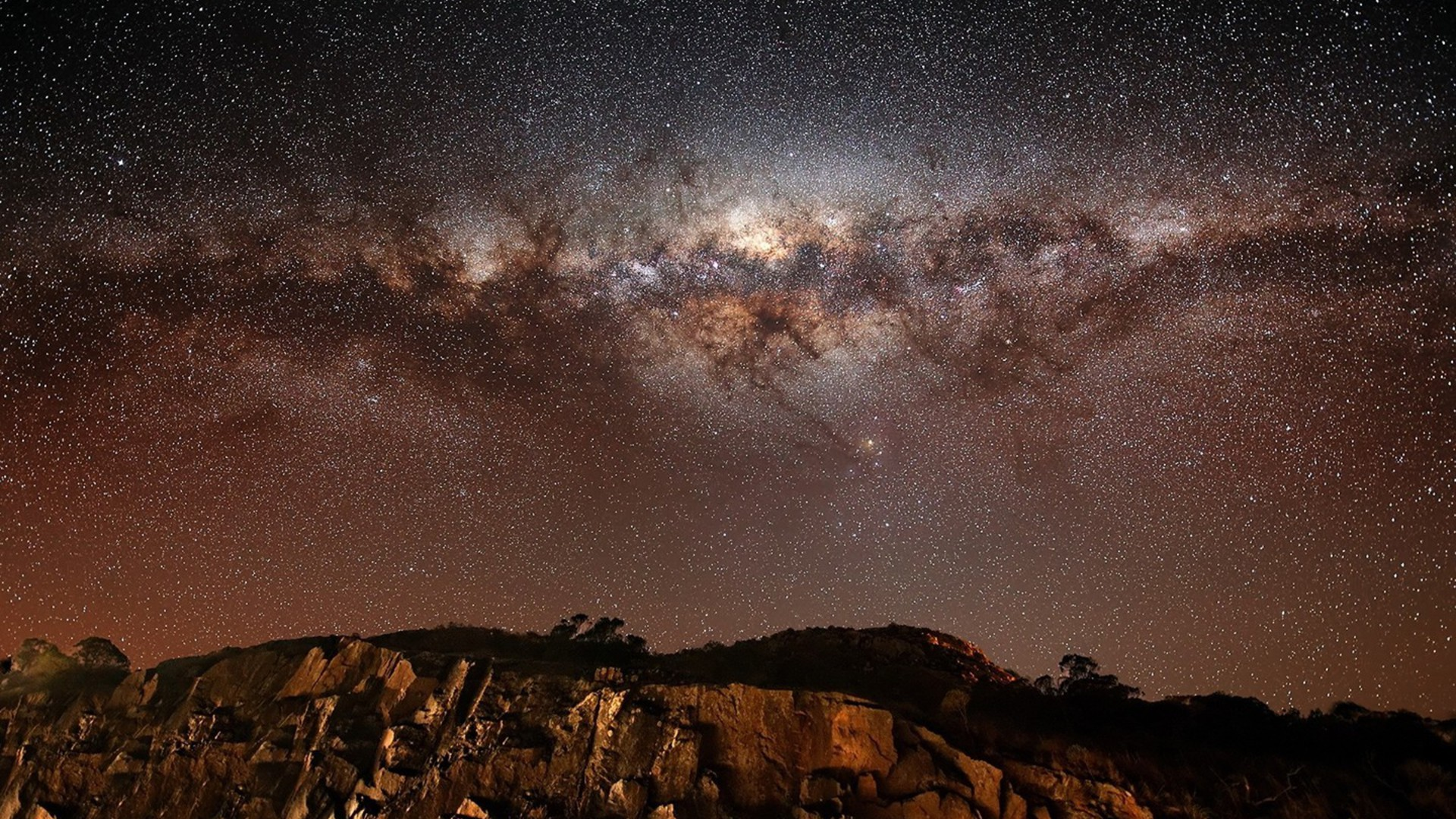 mountains outer space galaxies milky way cliff wallpaper