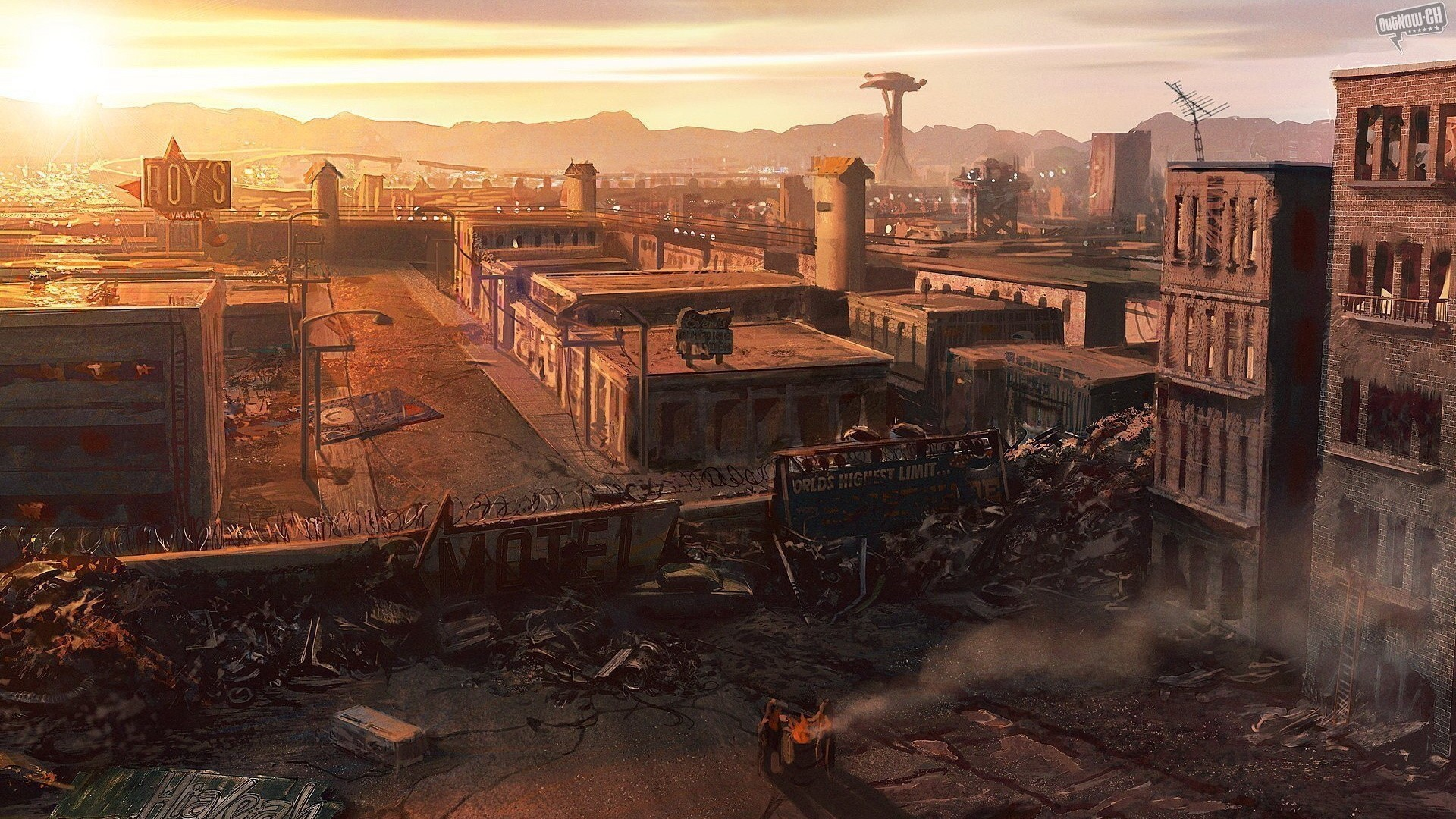 Cityscapes Postapocalyptic Ruins Wallpaper