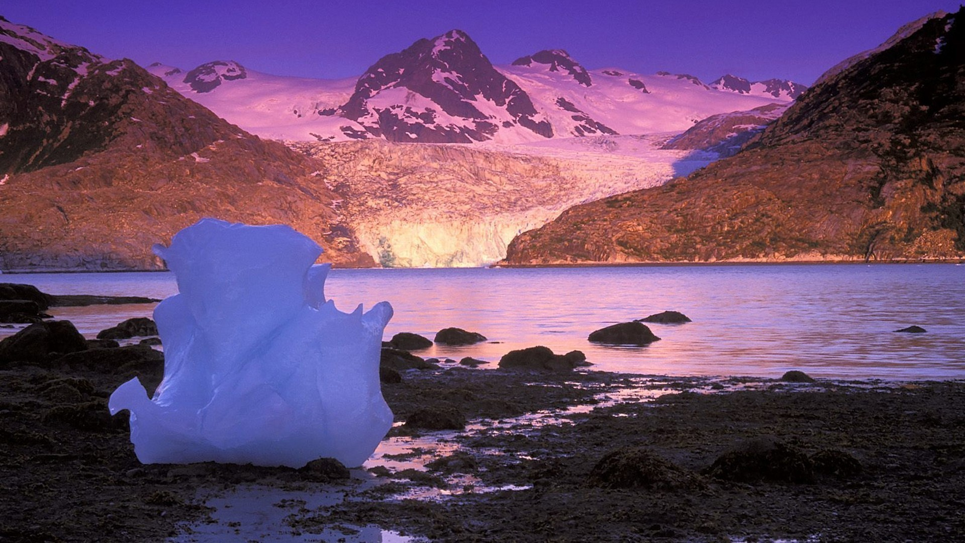 Alaska Bay Icebergs Sunrise Wallpaper