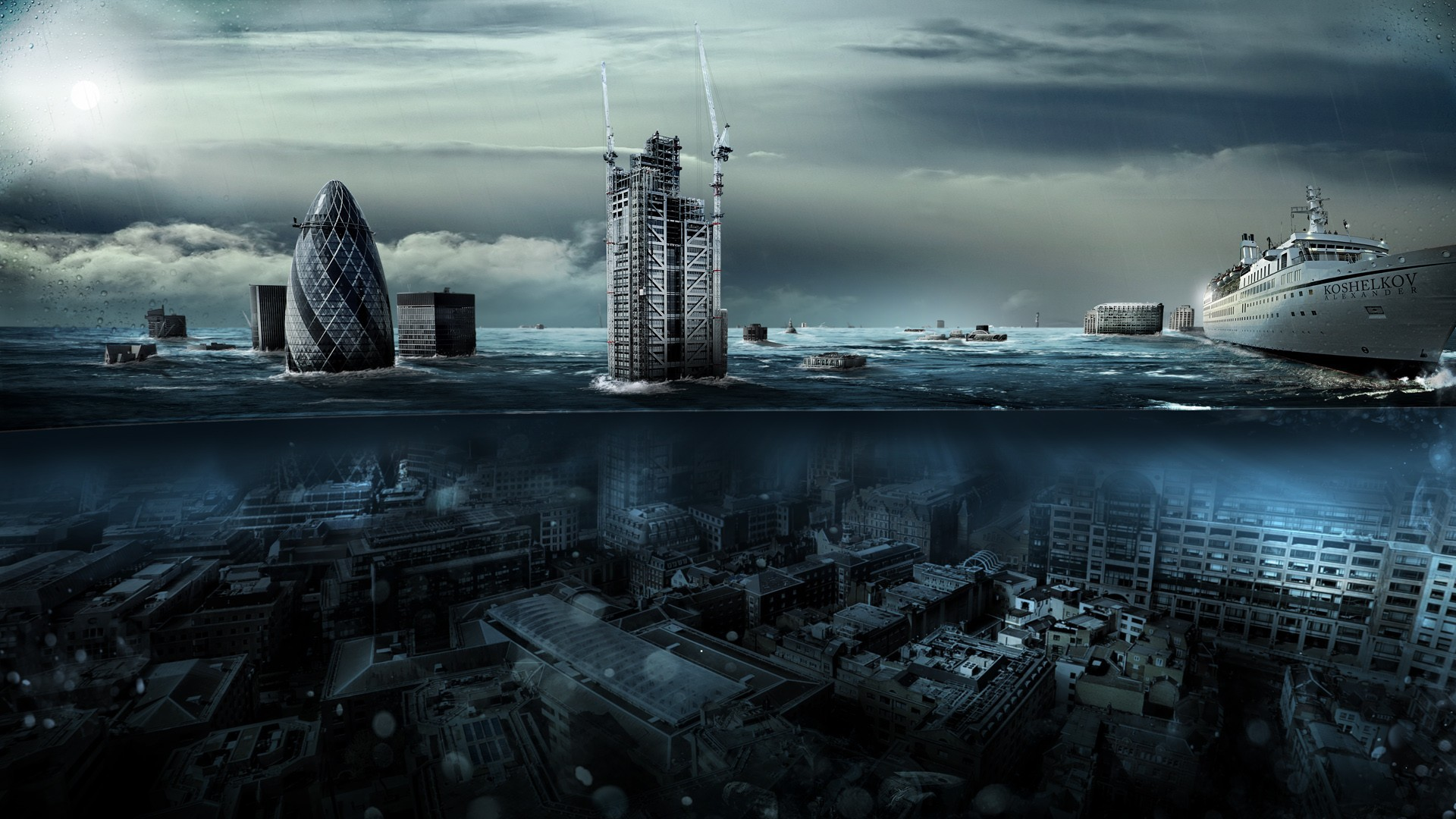 water clouds cityscapes futuristic - photo #1