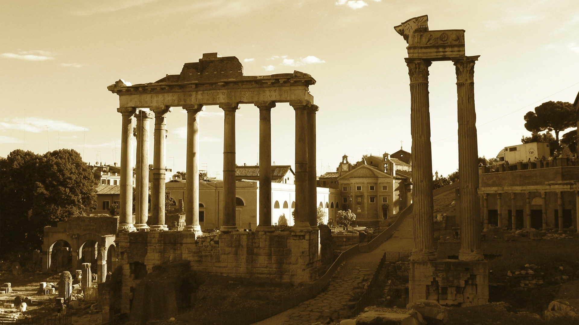 Roman Empire Architecture Historic Ruins Sepia Wallpaper