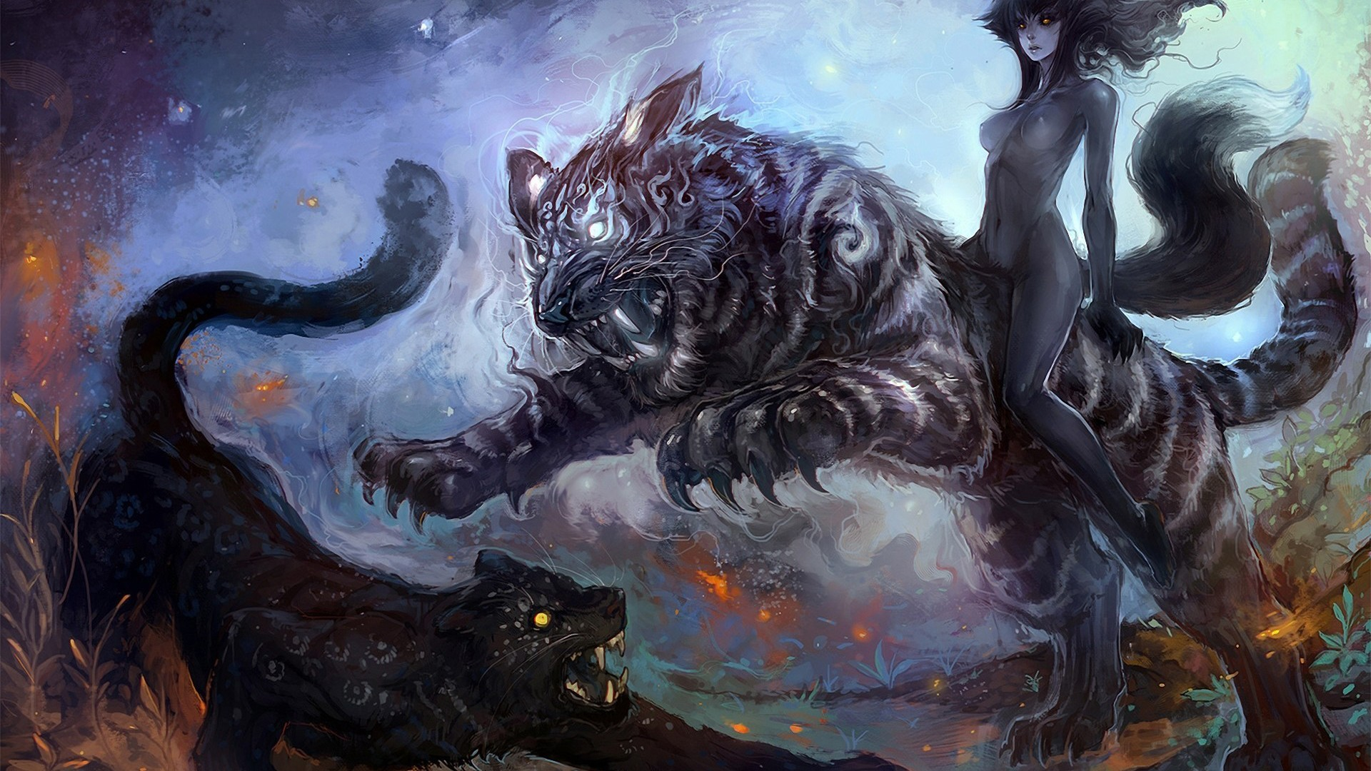 Animals Tigers Fantasy Art Fangs Anthropomorphism Wallpaper