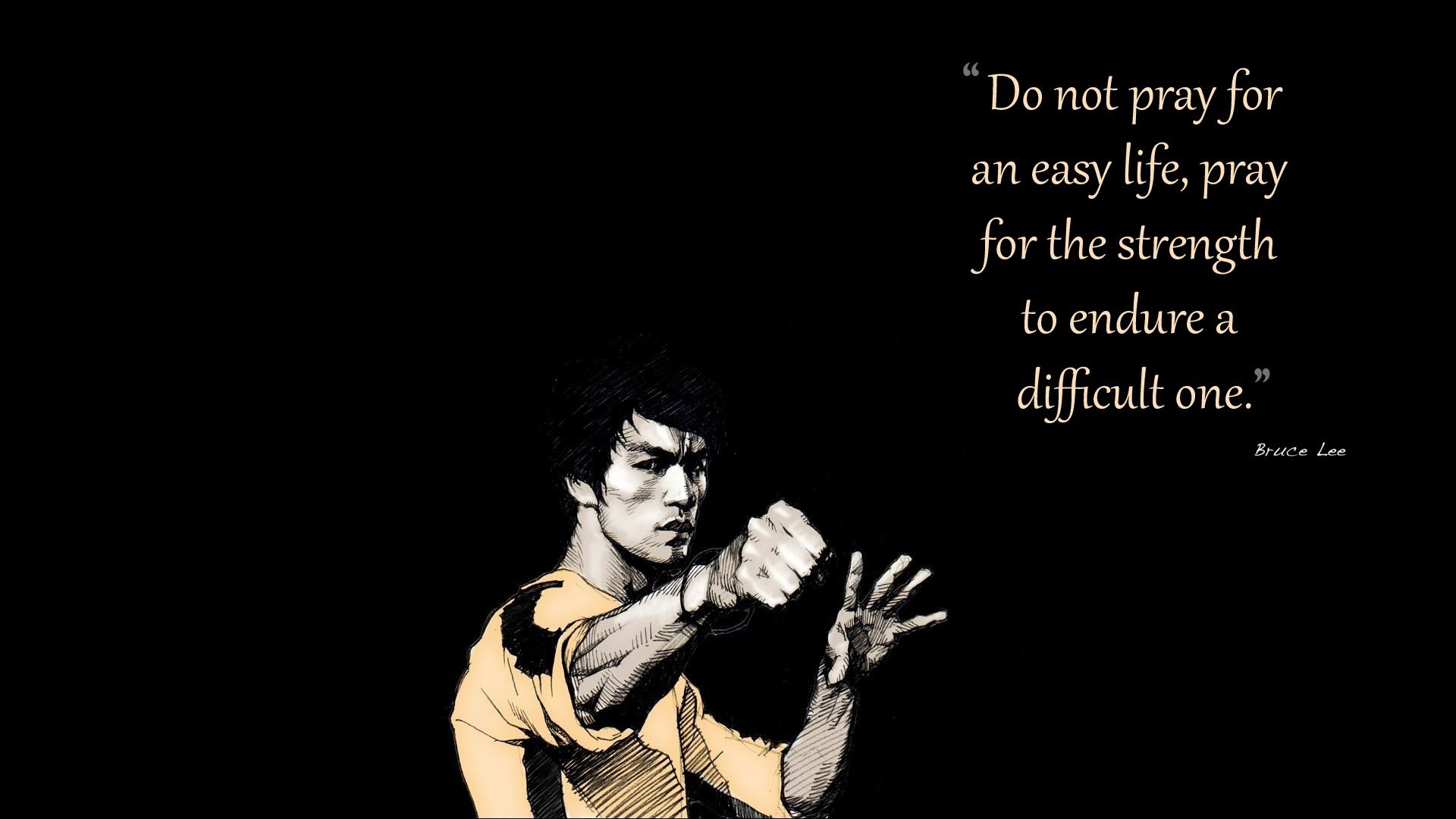 Bruce Lee Artwork Black Background Quotes Wallpaper Allwallpaper