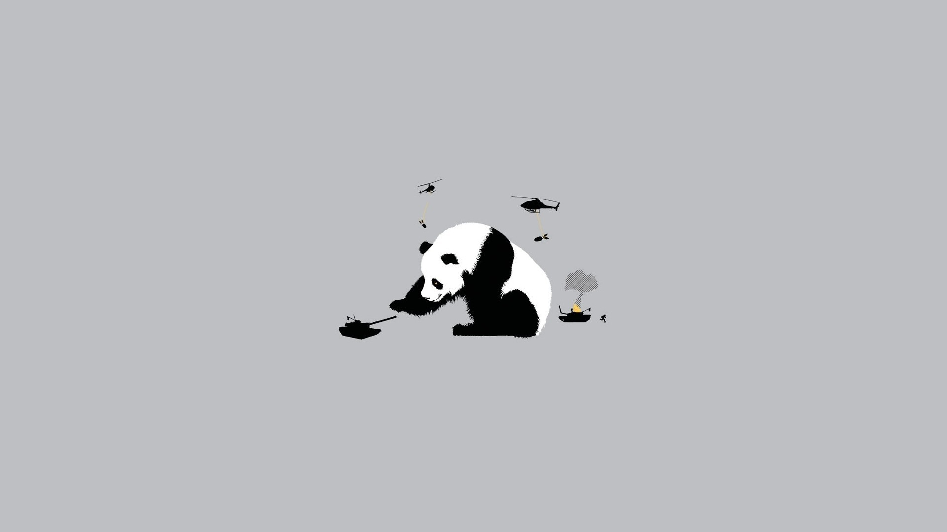 Abstract Funny Panda Bears Simple Simplistic Wallpaper