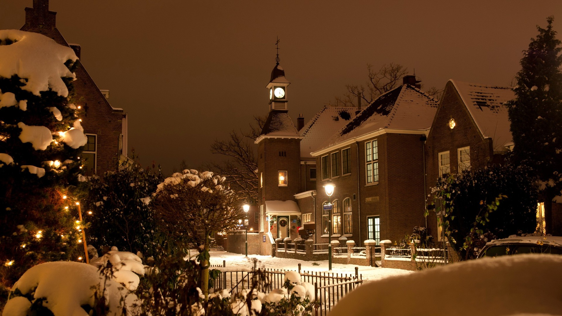 winter night in small town wallpaper