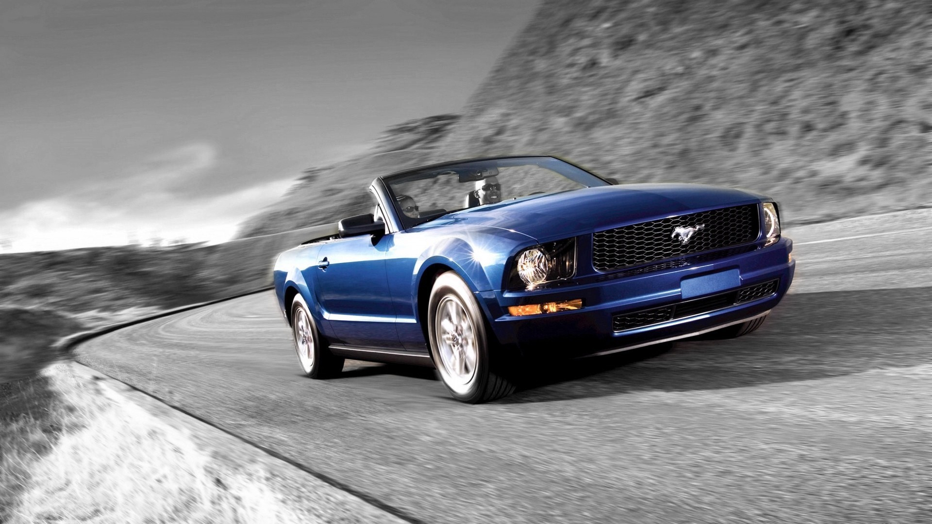 Ford Mustang Black And White Blue Cars Wallpaper Allwallpaper In