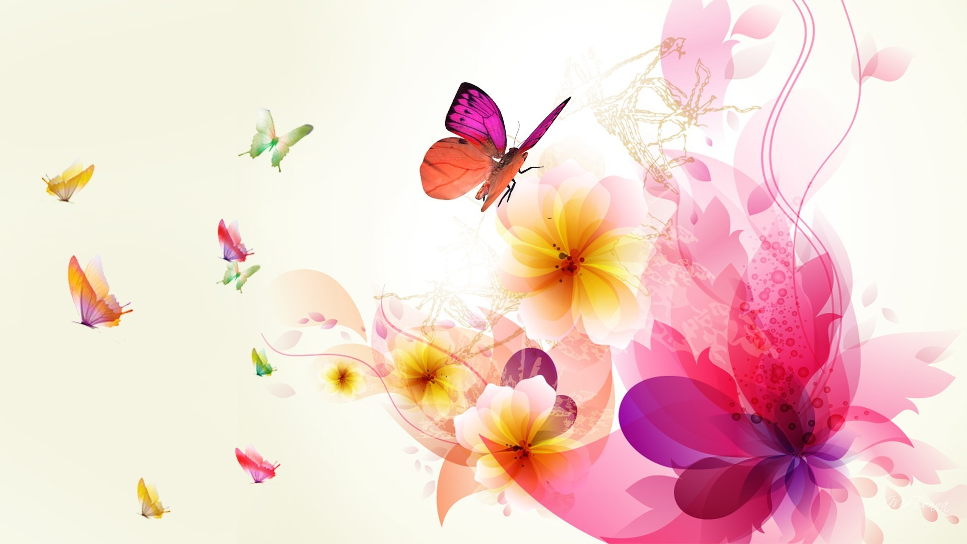 Abstract Design Flower Wallpaper: Exotic Abstract Floral Wallpaper