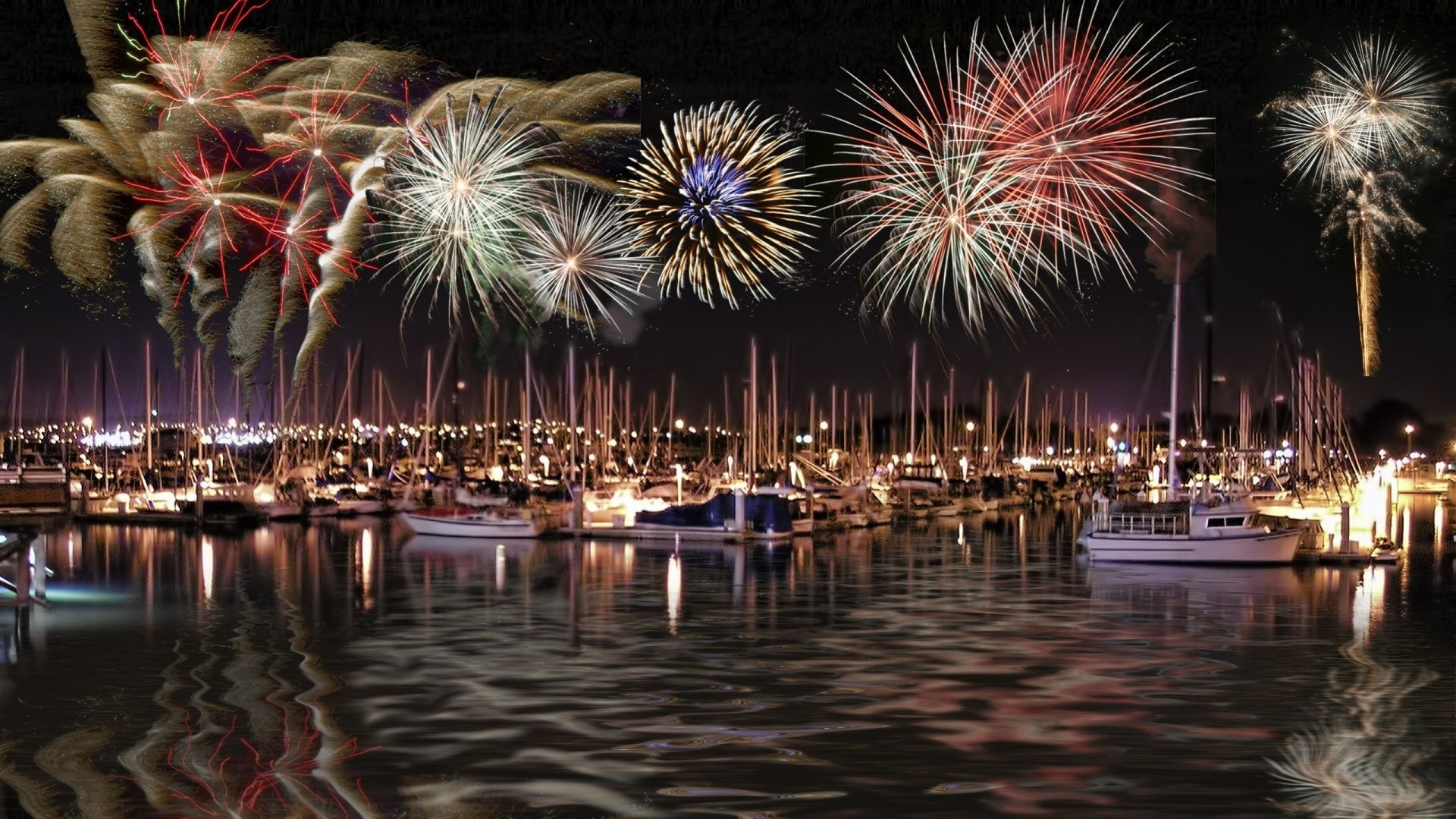 Fireworks Ships Digital Art July Wallpaper Allwallpaper