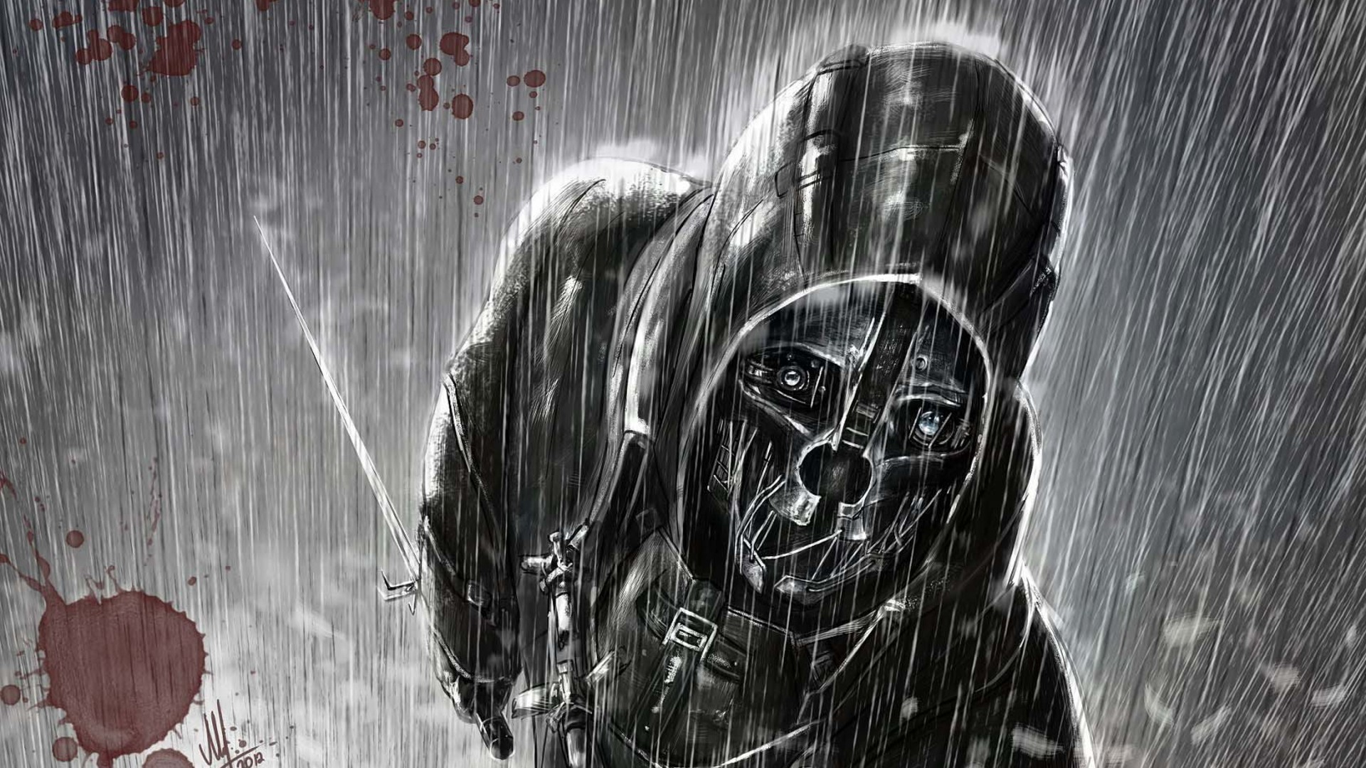 Dishonored Fan Art Corvo Video Games Wallpapers Hd: Rain Dishonored Corvo Attano Wallpaper