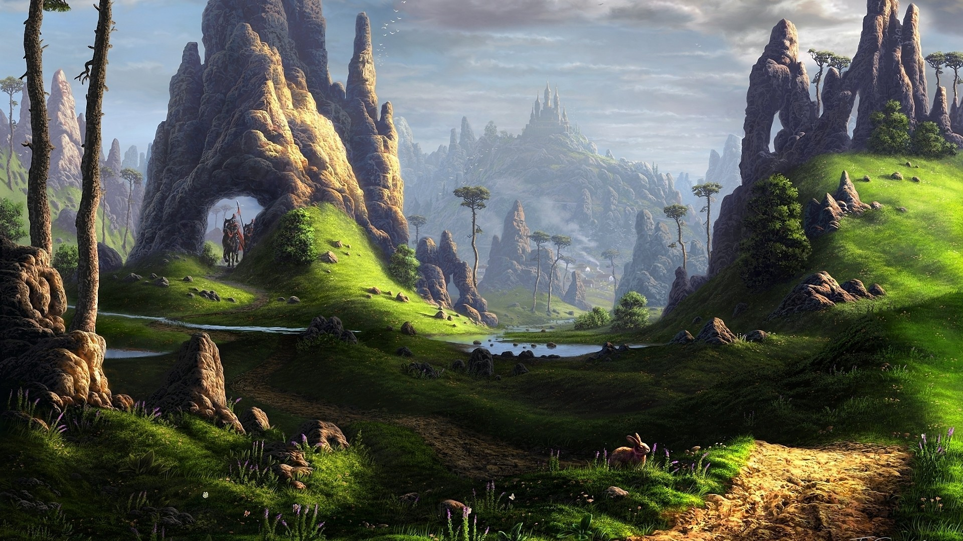 Landschaft Tal Fantasie Kunst Wallpaper Allwallpaperin 646 Pc De