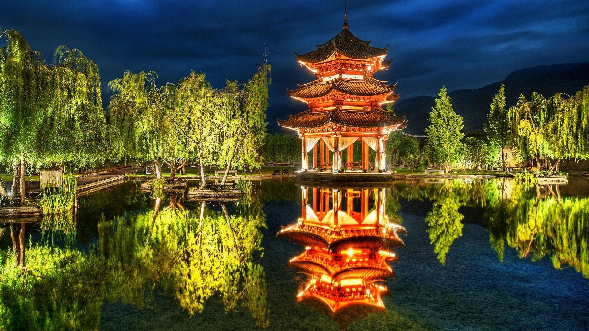 beautiful chinese pavilion reflection wallpaper | allwallpaper.in