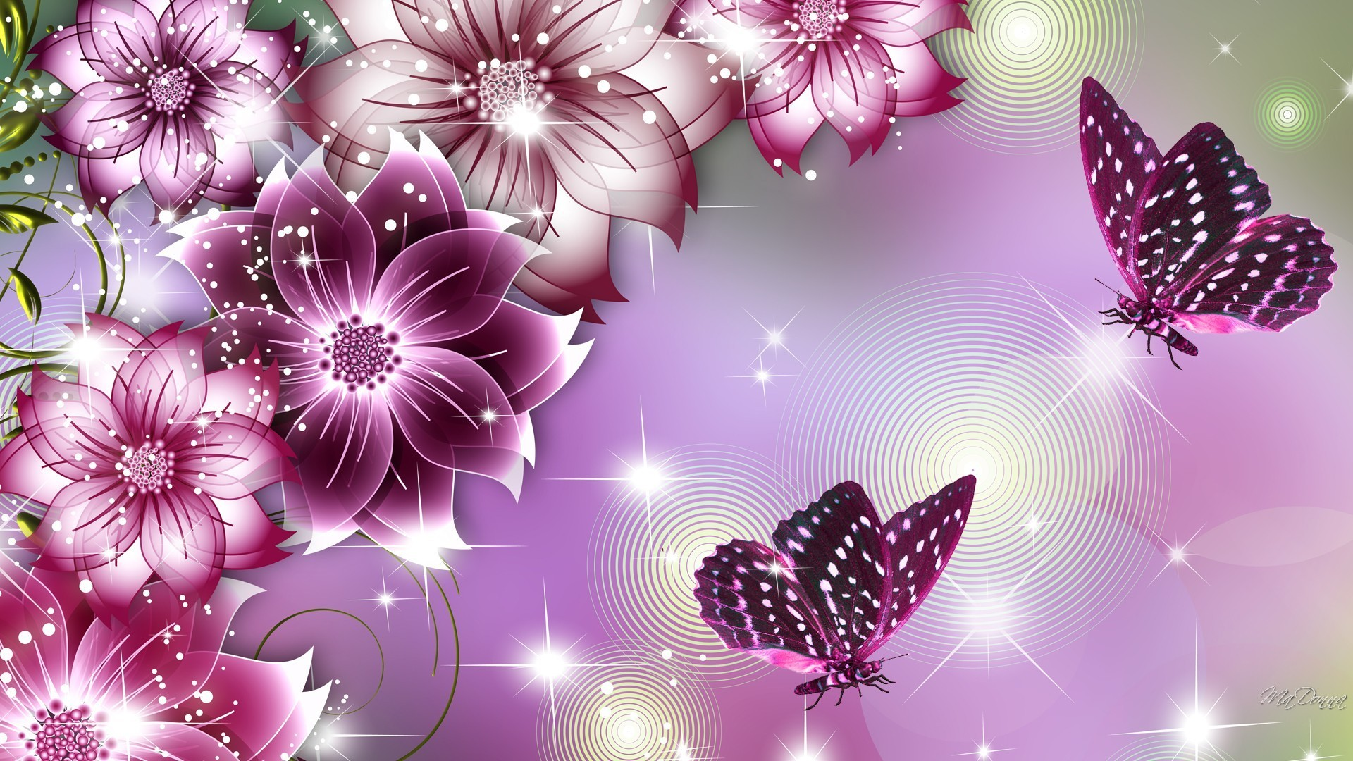 Flower Butterfly Beauties Wallpaper