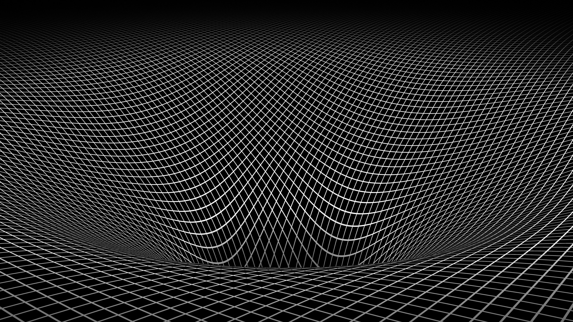 Abstract black and white gravity hole 3d warped wallpaper
