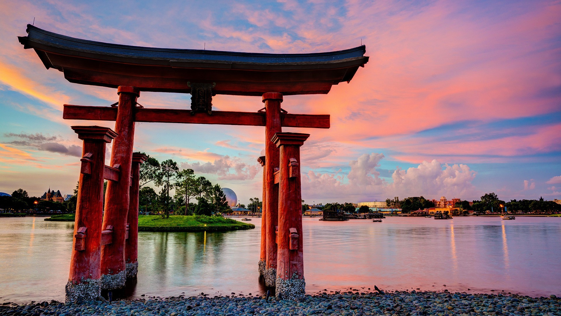 Epcot disneyland torii lakes culture japanese architecture for Puerta wallpaper hd