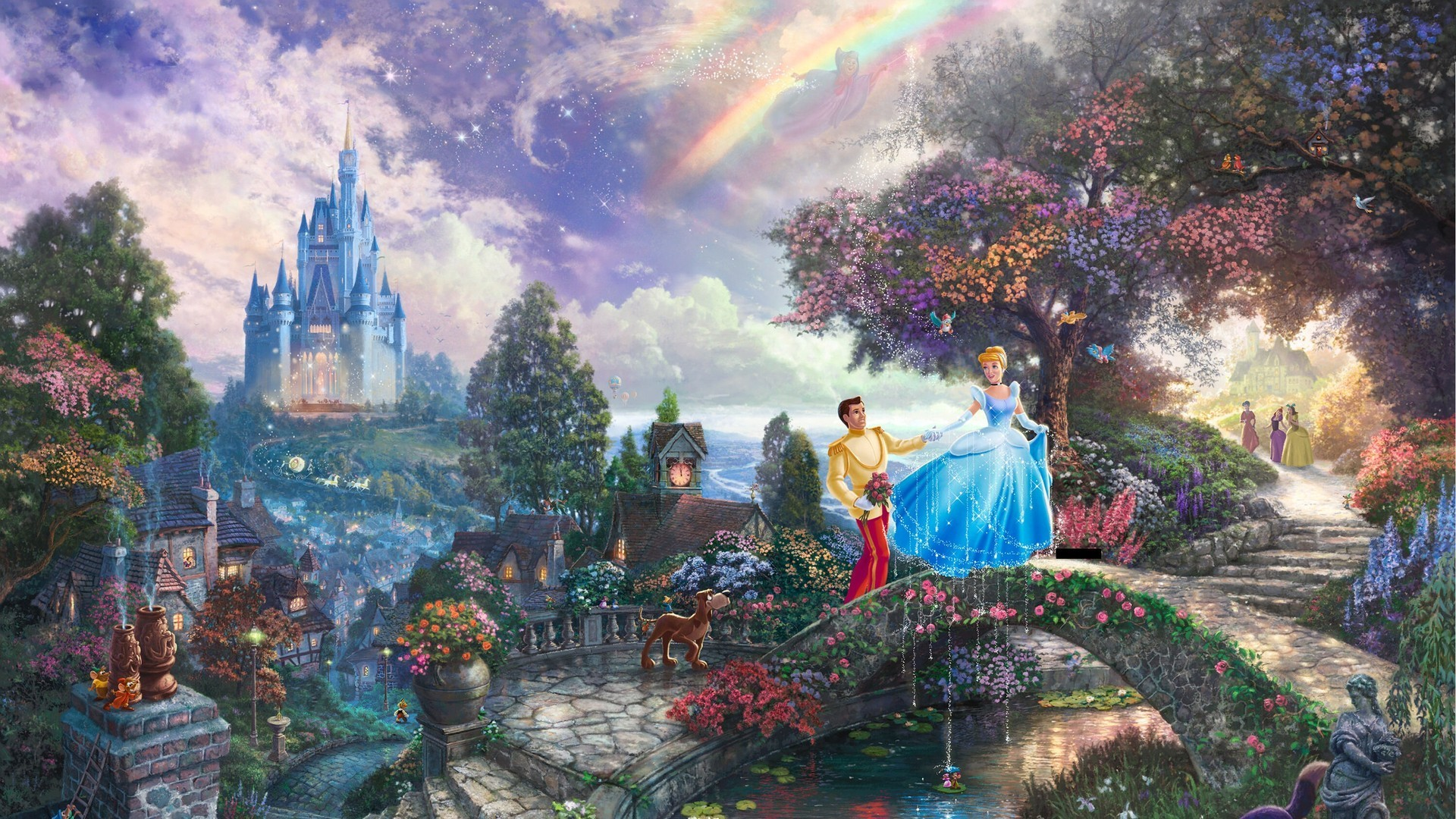 Cinderella Disney Castle Thomas Kinkade Digital Art Prince Wallpaper
