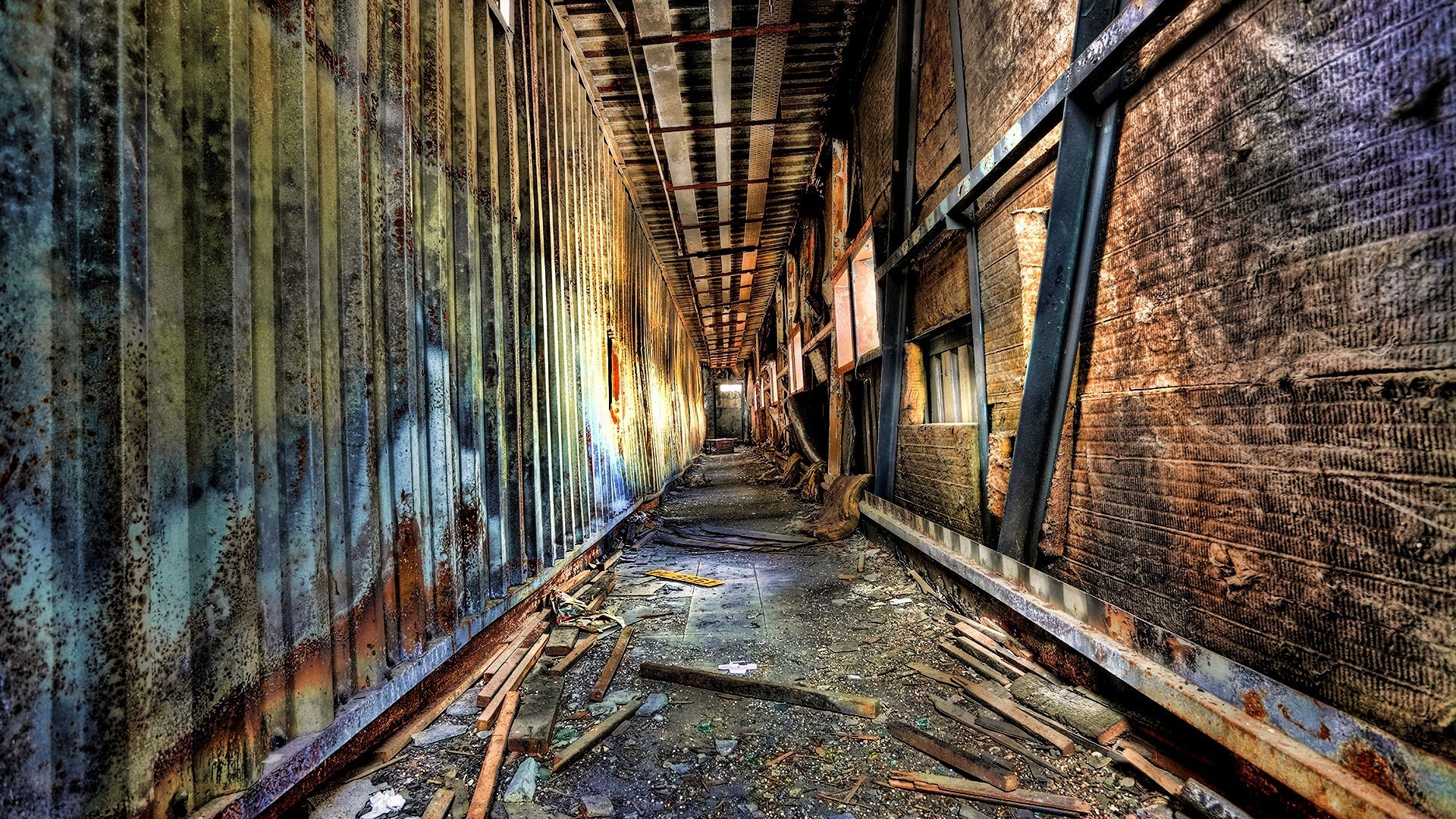 Hdr photography abandoned corridor decay postapocalyptic wallpaper 9978 - Wallpaper corridor ...