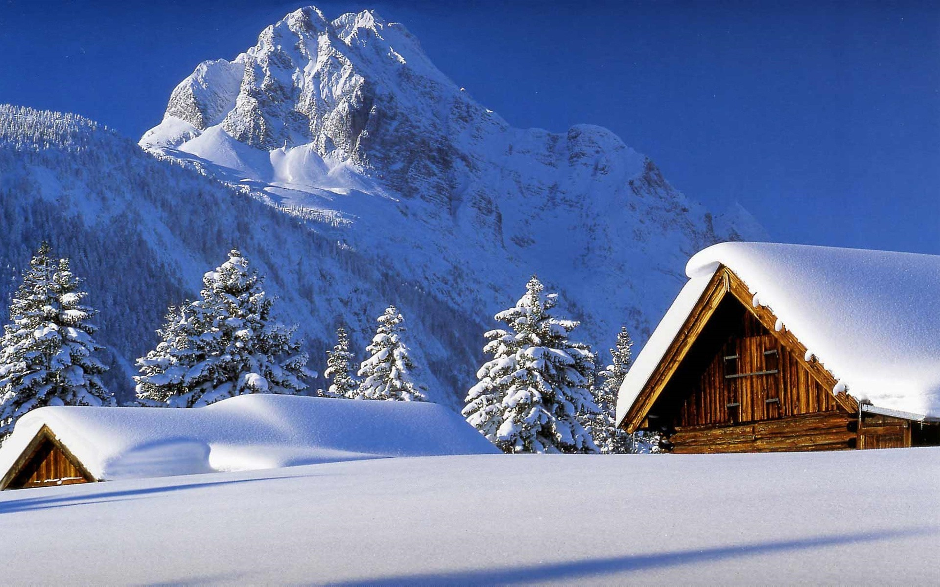 Hutte Landschaften Berge Schnee Winter Wallpaper Allwallpaper In