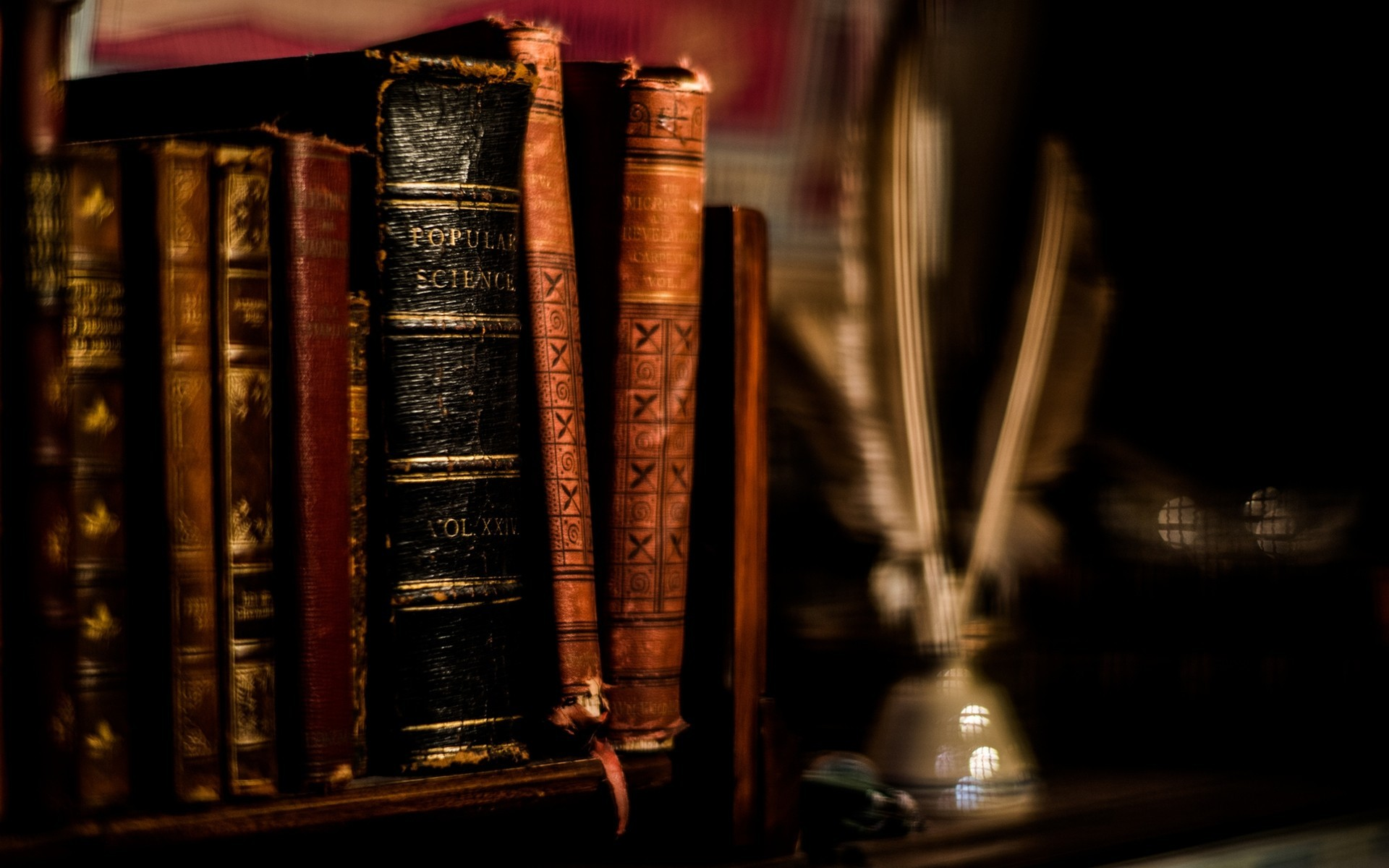 Ancient Books Wallpaper Feathers books ancient blurred background ...