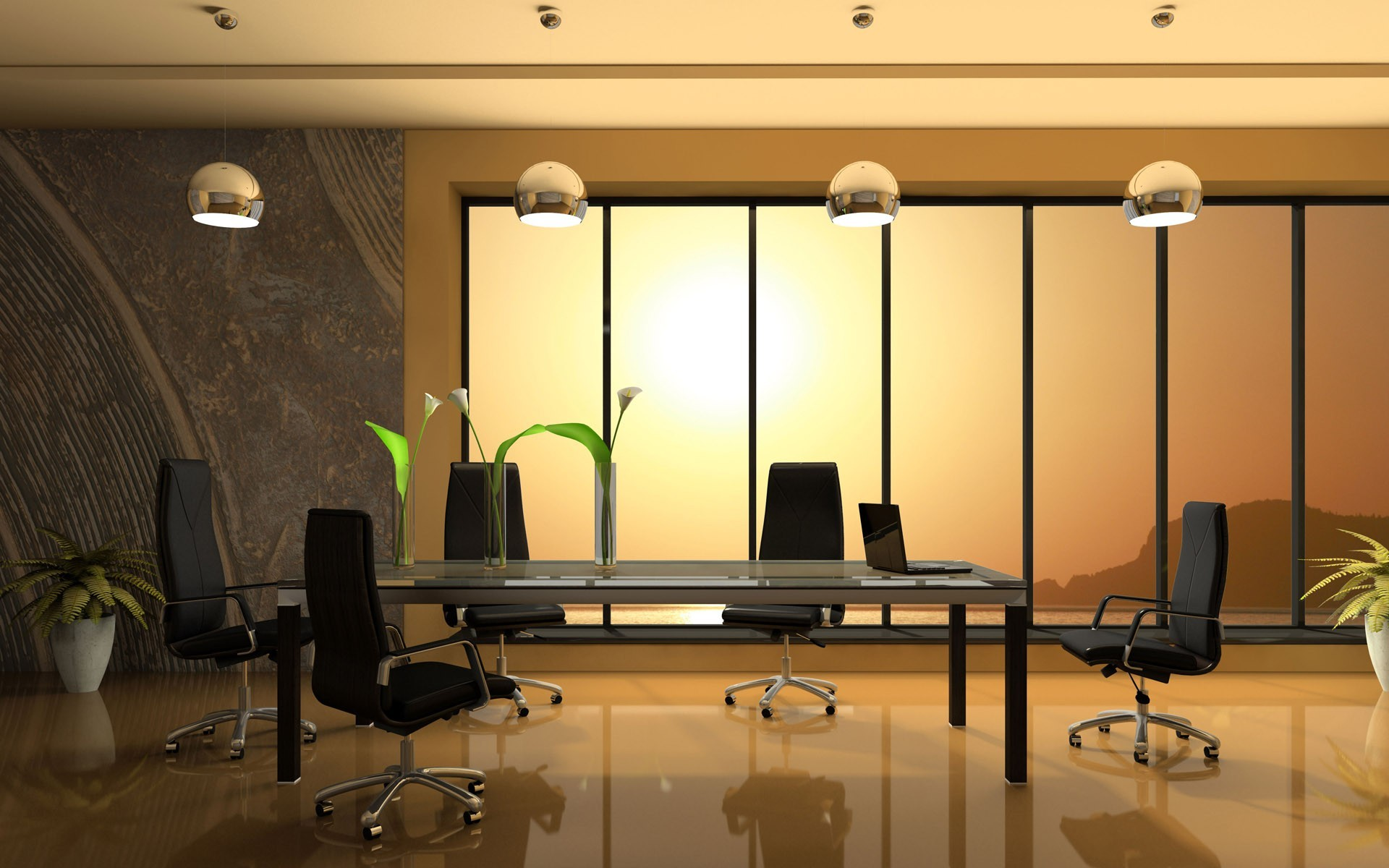 Office interior design wallpaper 138 for Wallpaper home office