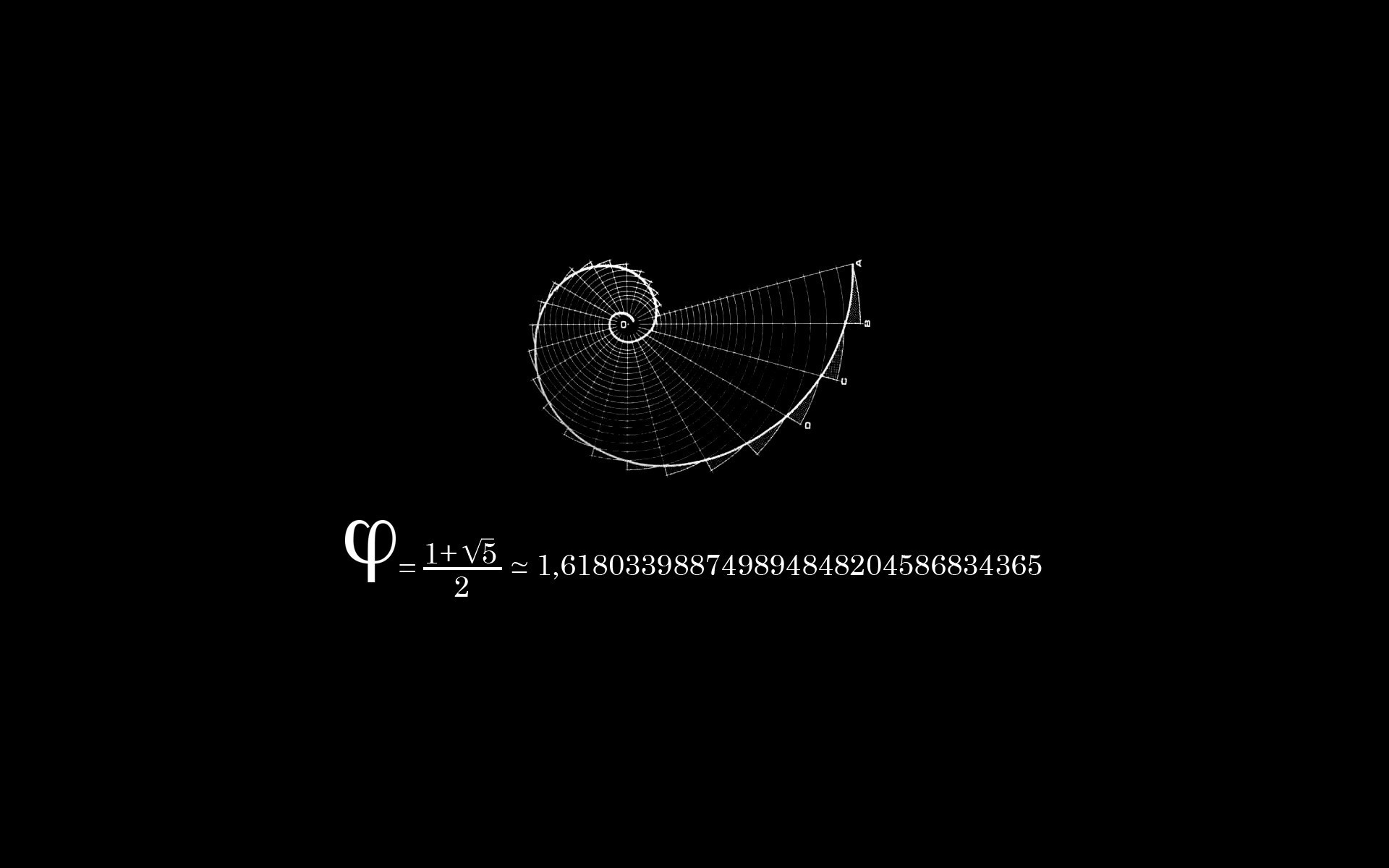 Fibonacci Black Background Mathematics Physics Wallpaper