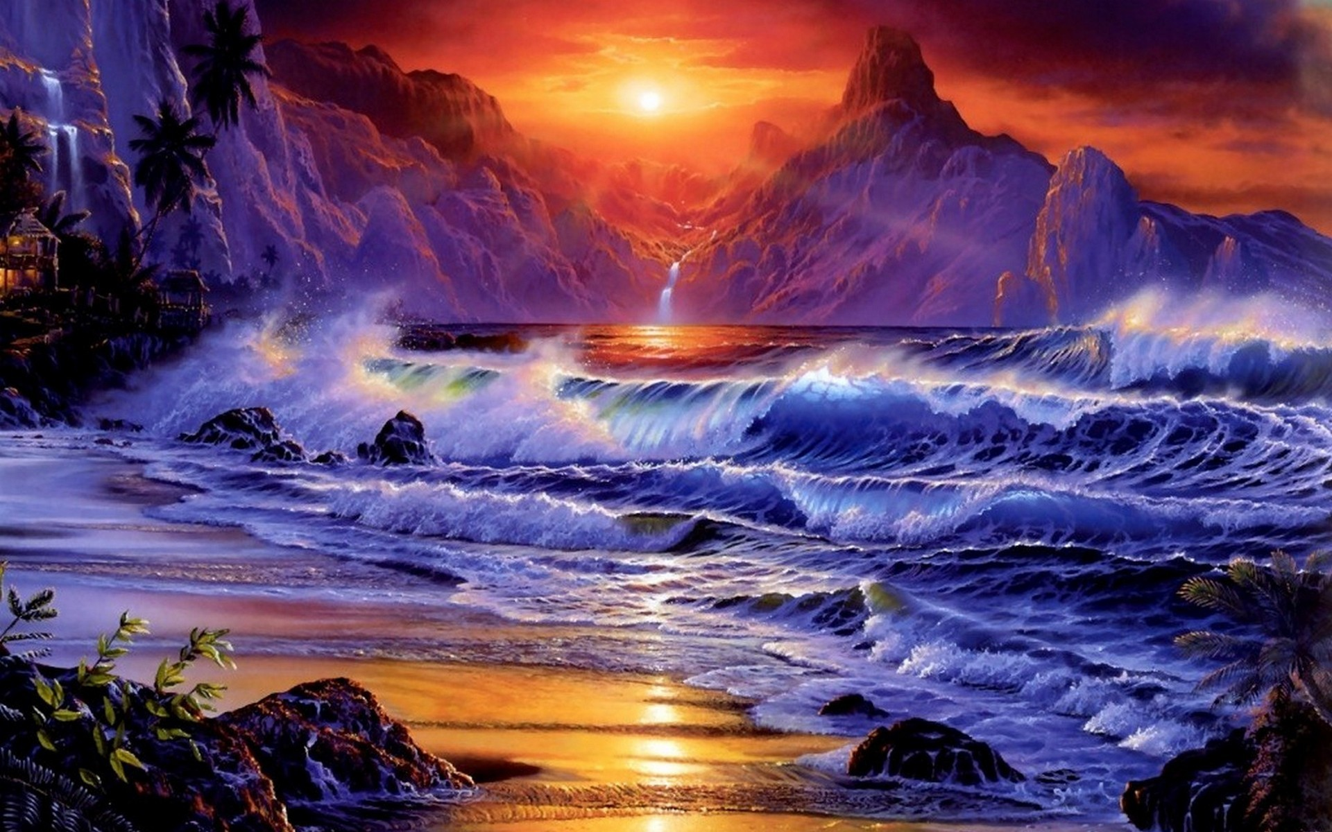 artwork fantasy art ocean sunset waves wallpaper | allwallpaper.in