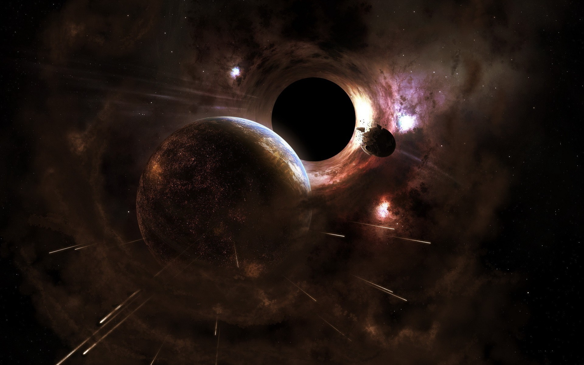 black hole cataclysm outer space planets stars wallpaper
