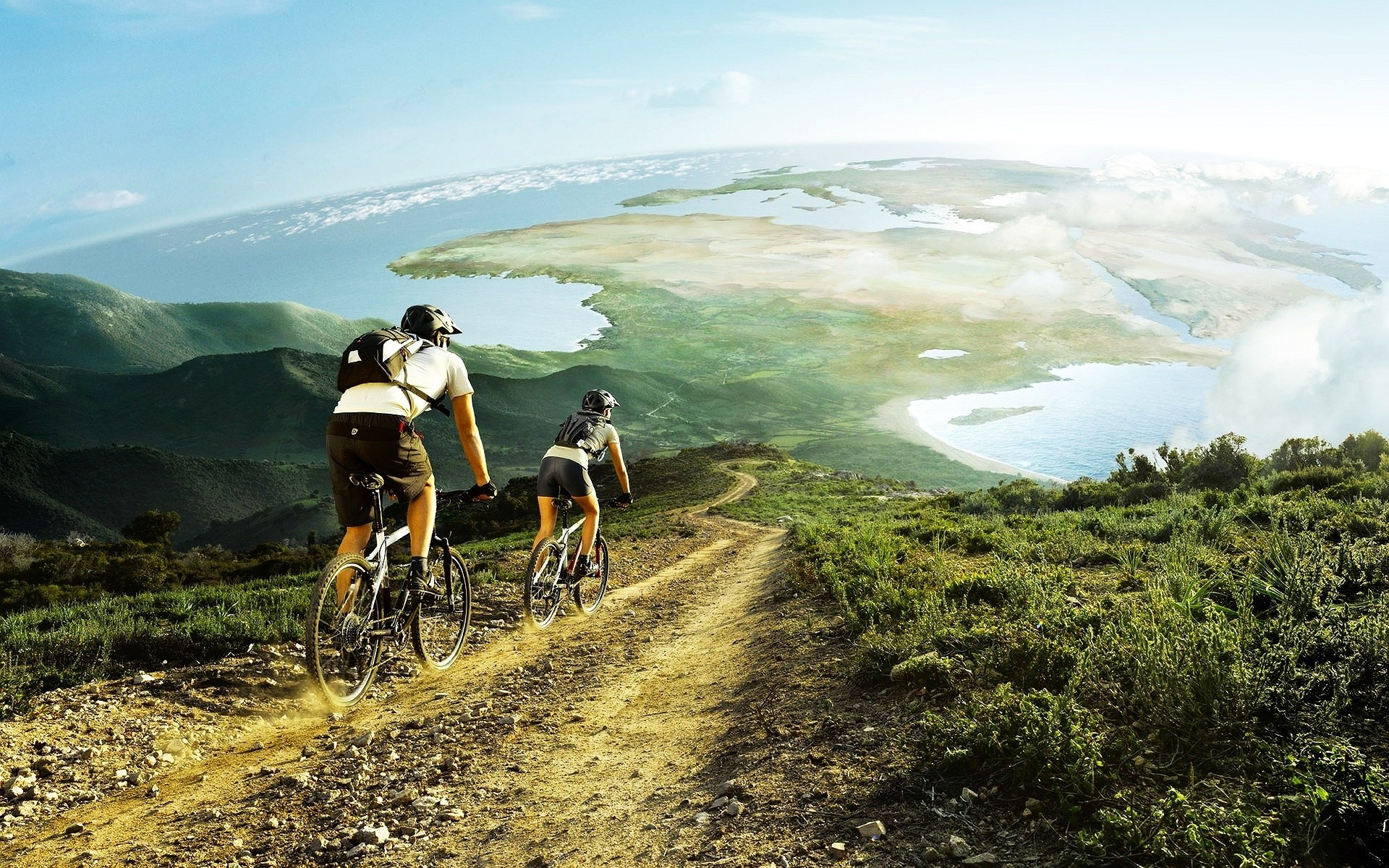 Cross Country Cycling Wallpaper