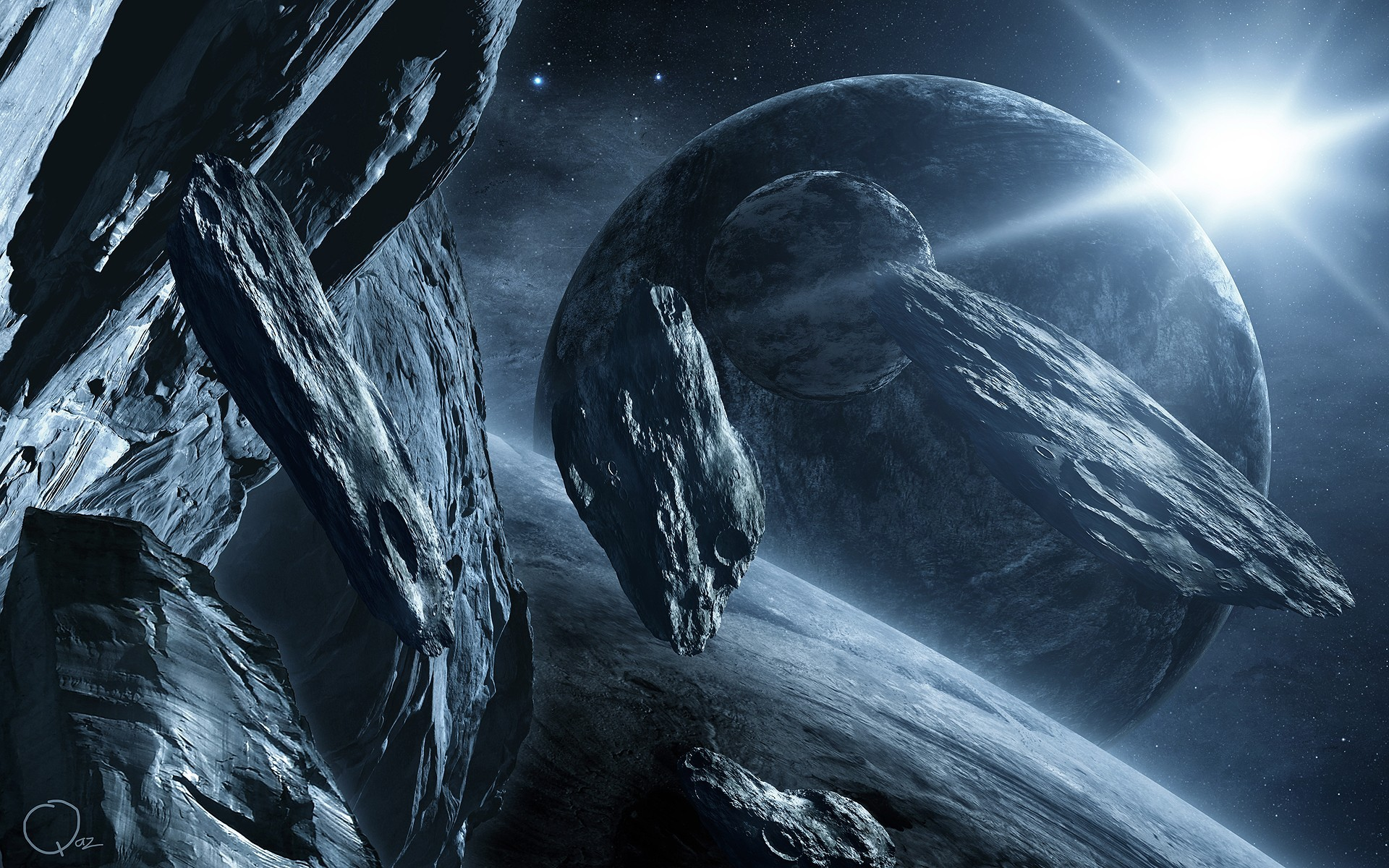 Hd Wallpaper Science Fiction: Planets Fantasy Art Science Fiction Artwork Asteroids