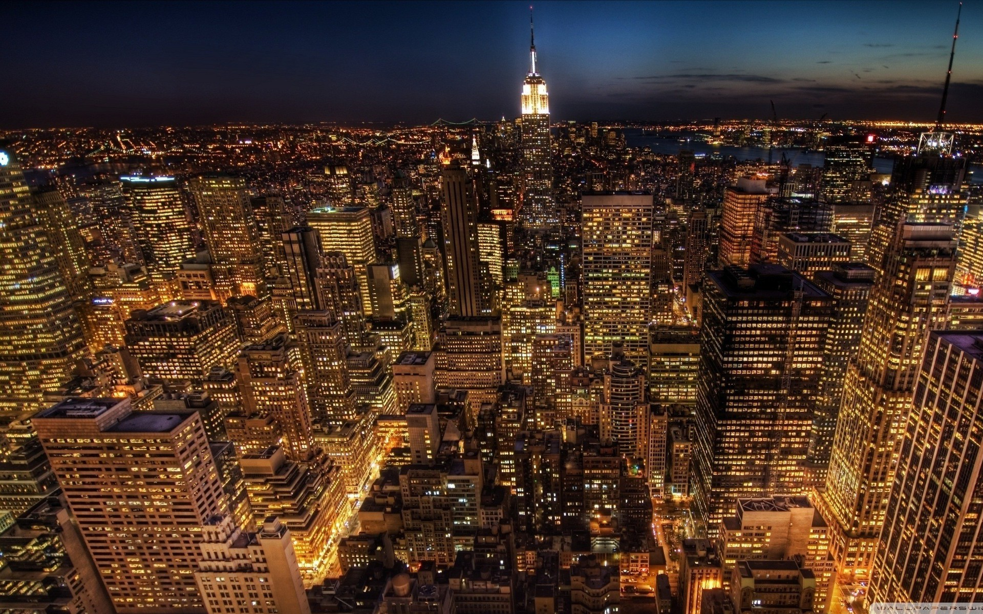 City Lights Aerial View Wallpaper