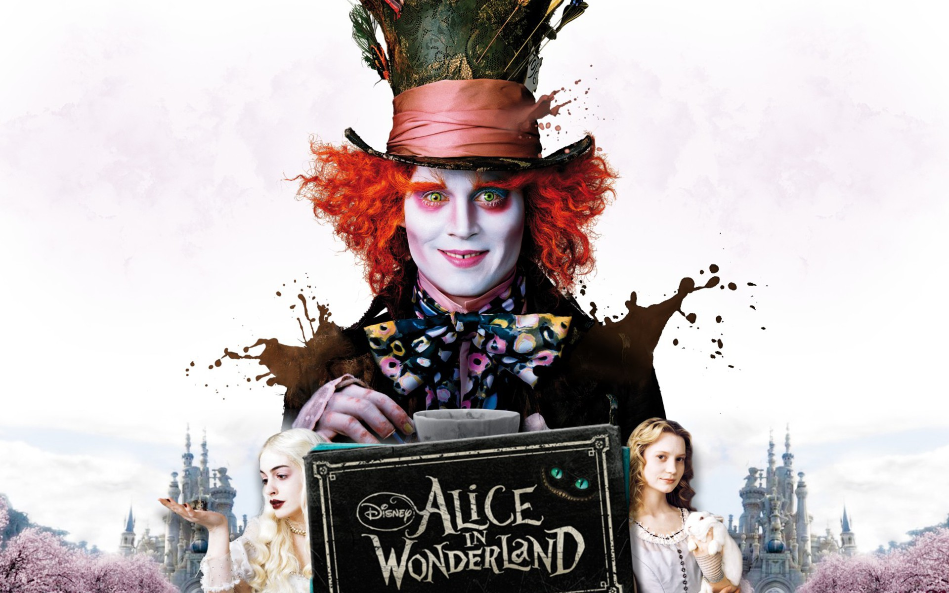 Wonderland mad hatter mia wasikowska johnny depp wallpaper ...