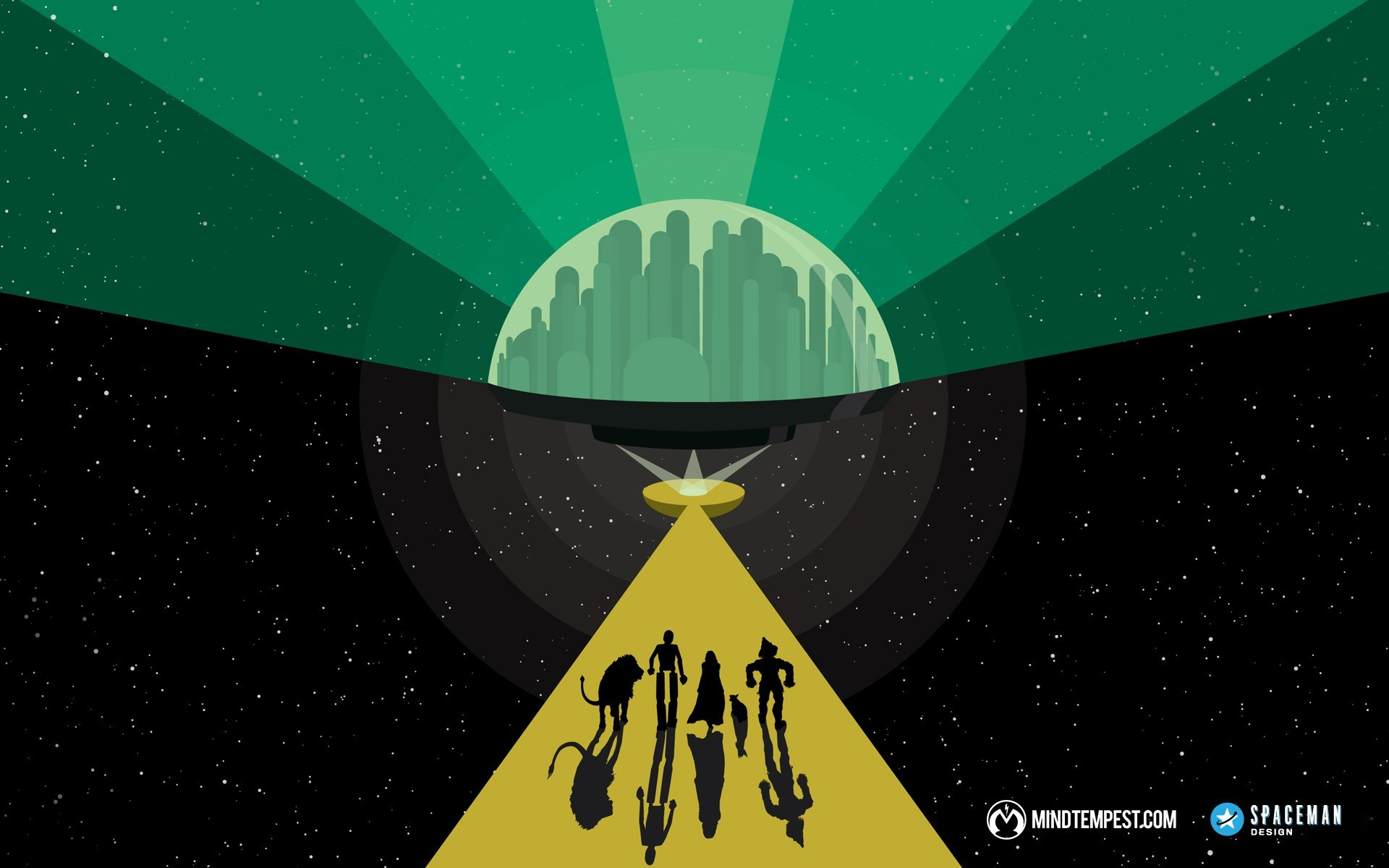 silhouettes paths wizard of oz artwork cities wallpaper