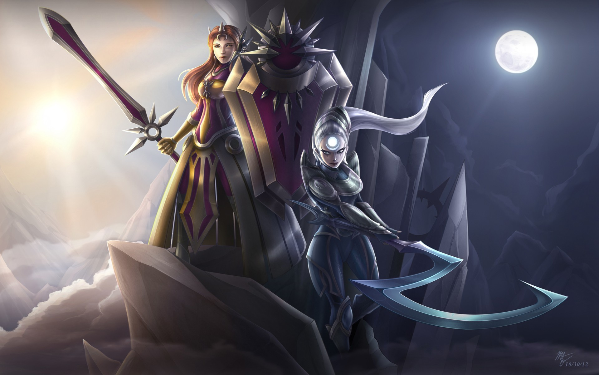 Sun Mond League Of Legends Luna Leona Diana Wallpaper Allwallpaper