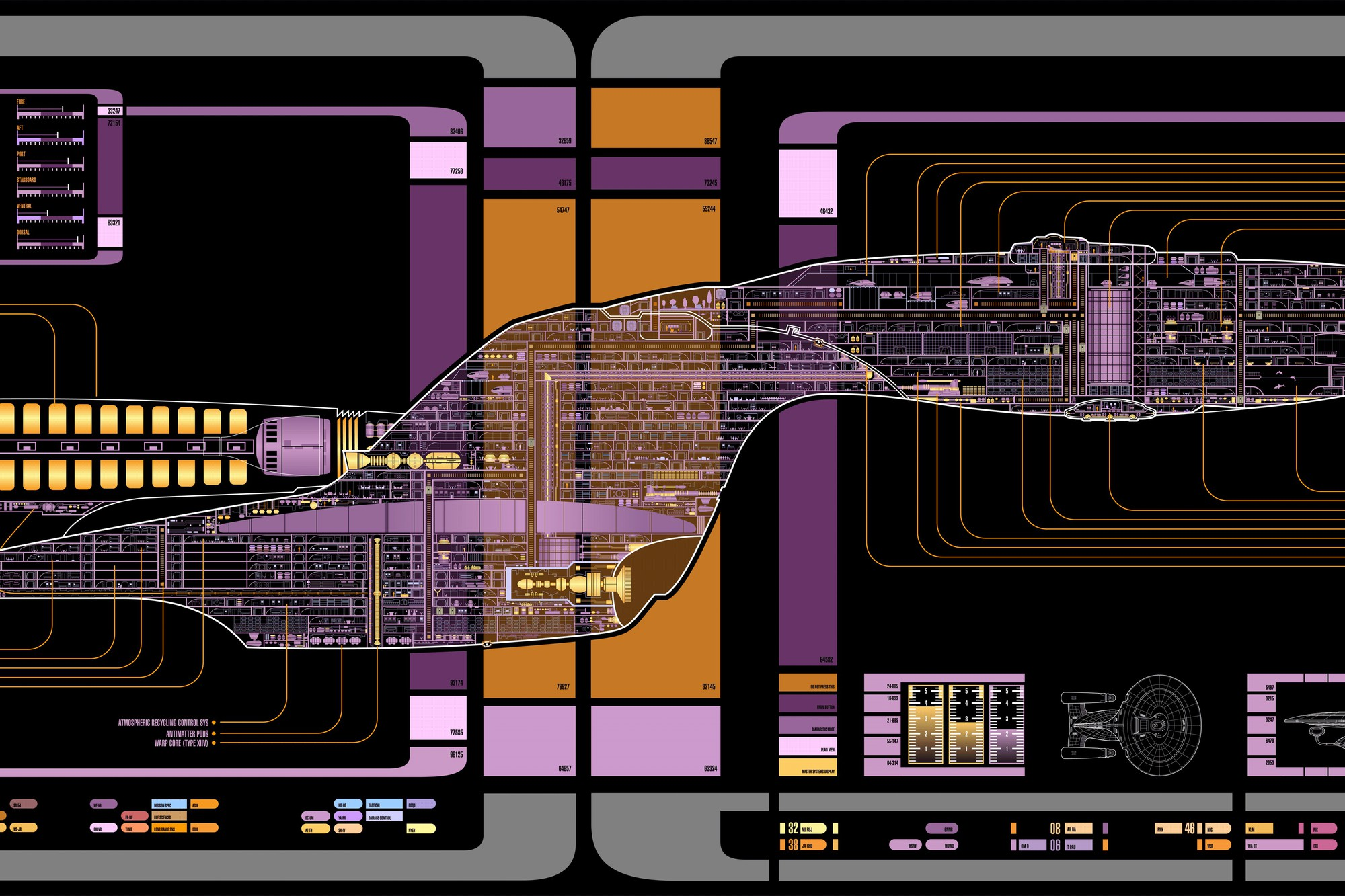 Star trek the voyager final schematics wallpaper ... Voyager Schematic on