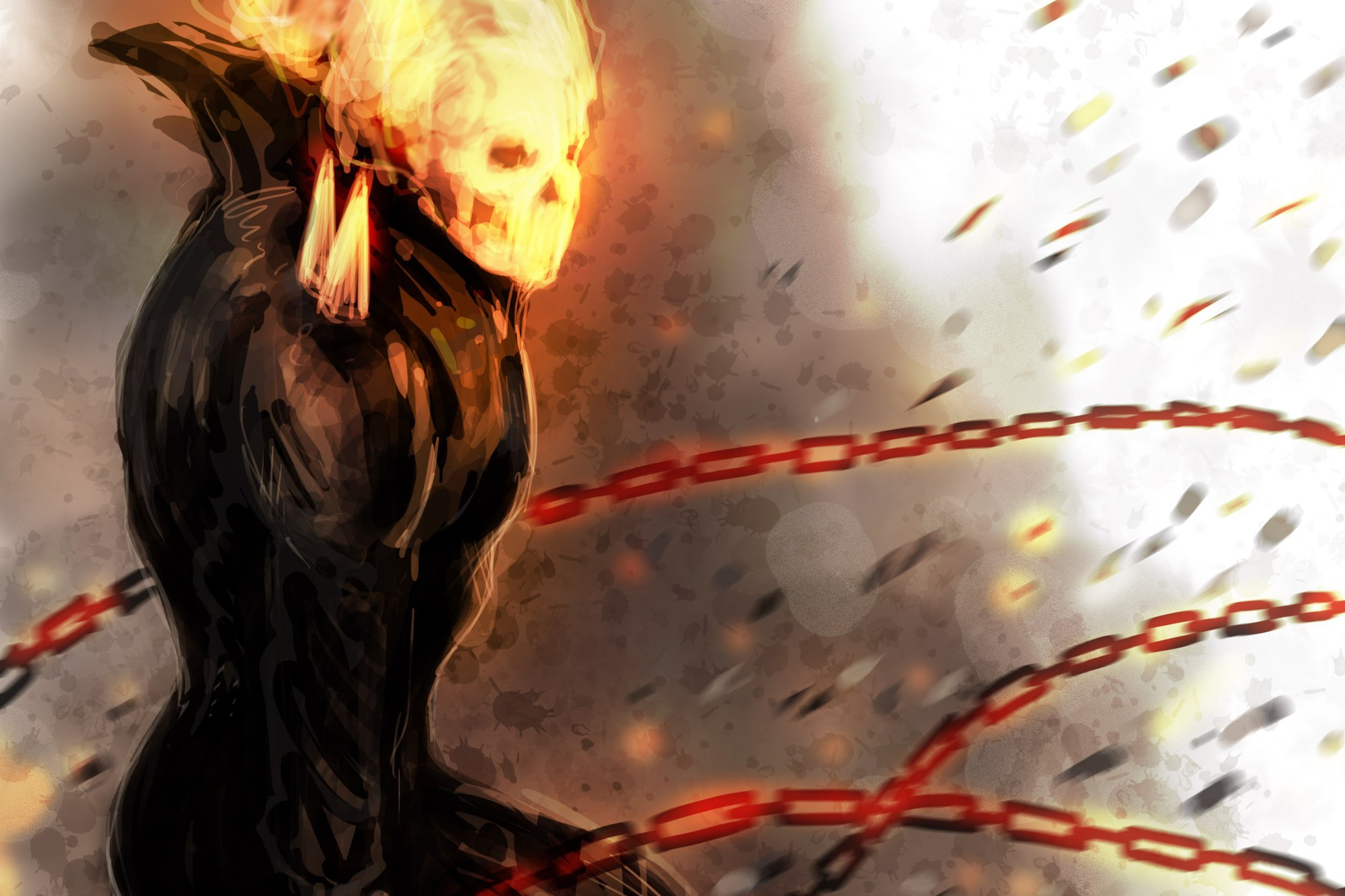 Comics fire ghost rider drawings chains traditional ...