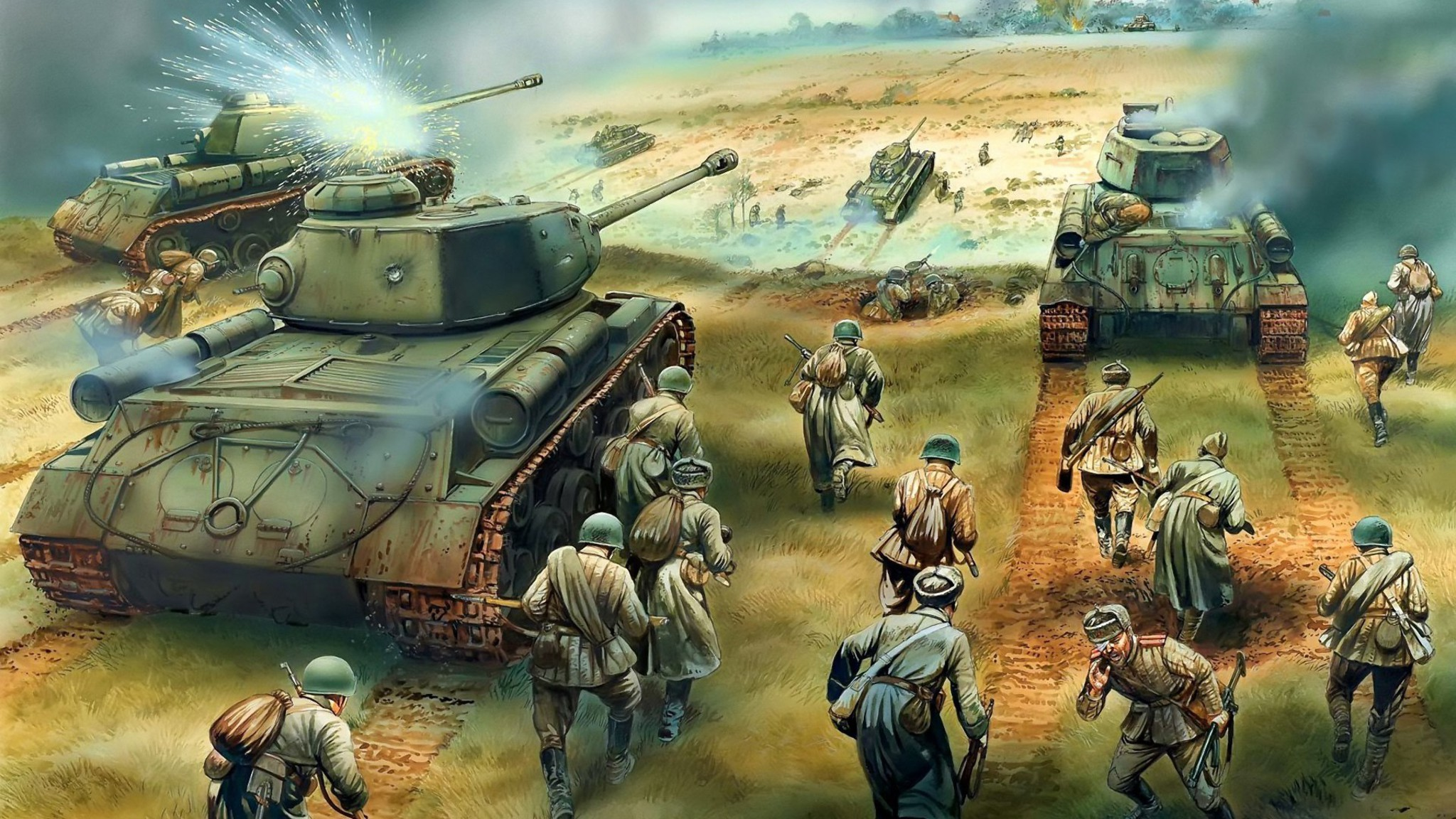 Soldiers war battlefield tanks wallpaper - Battlefield screensaver ...