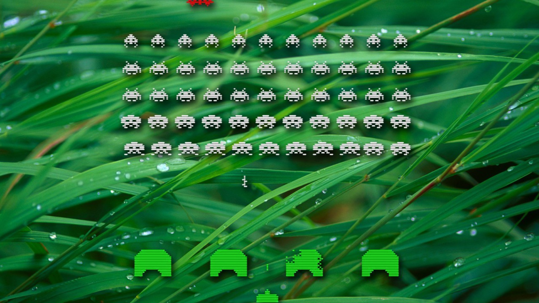 Grass space invaders retro games wallpaper | AllWallpaper ...
