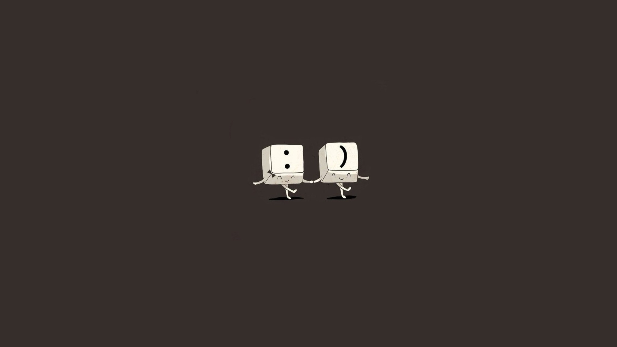 Minimalistic Happy Humor Funny Brown Background Wallpaper 2013