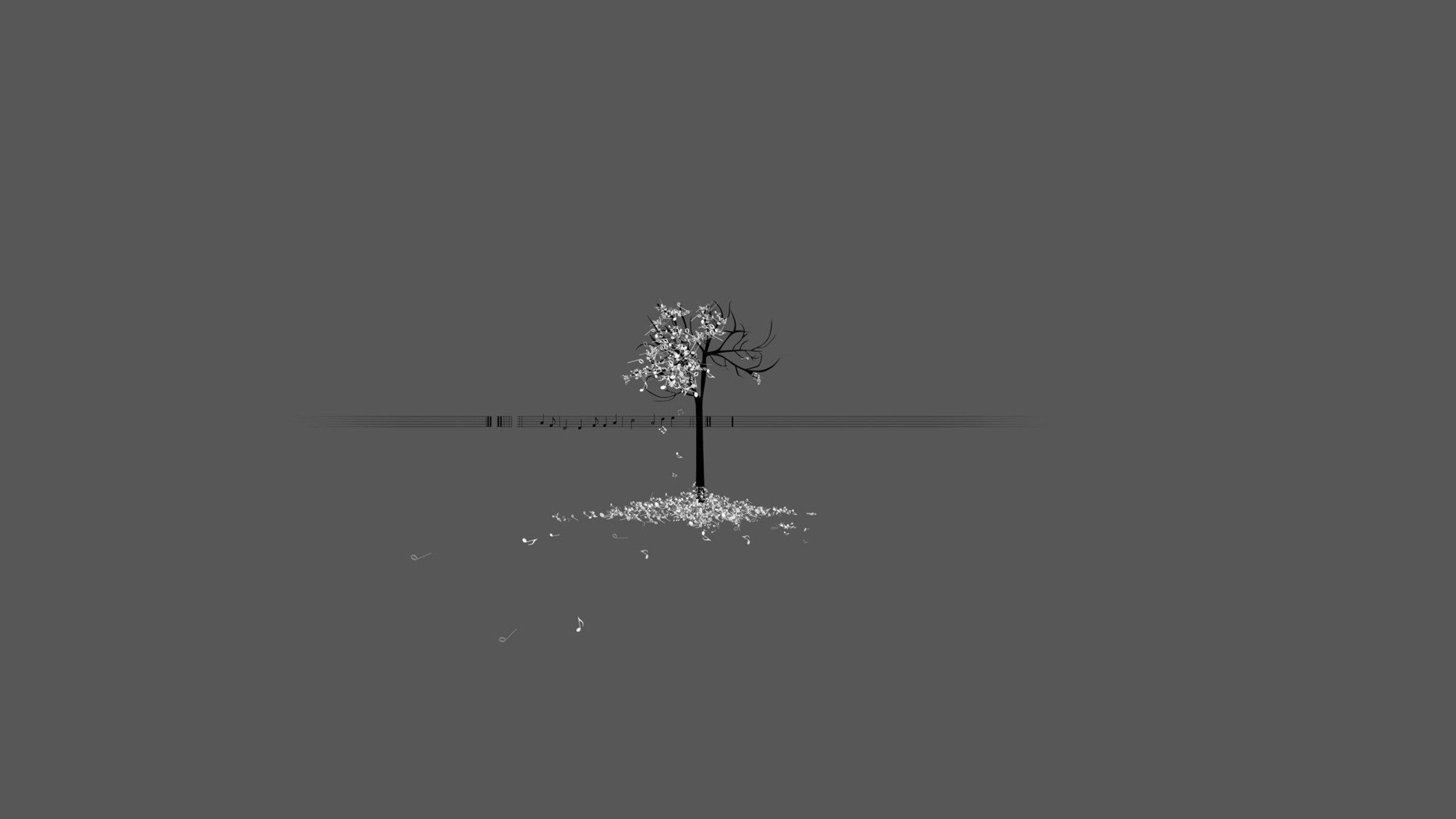 Minimalistic Trees Musical Gray Background Wallpaper