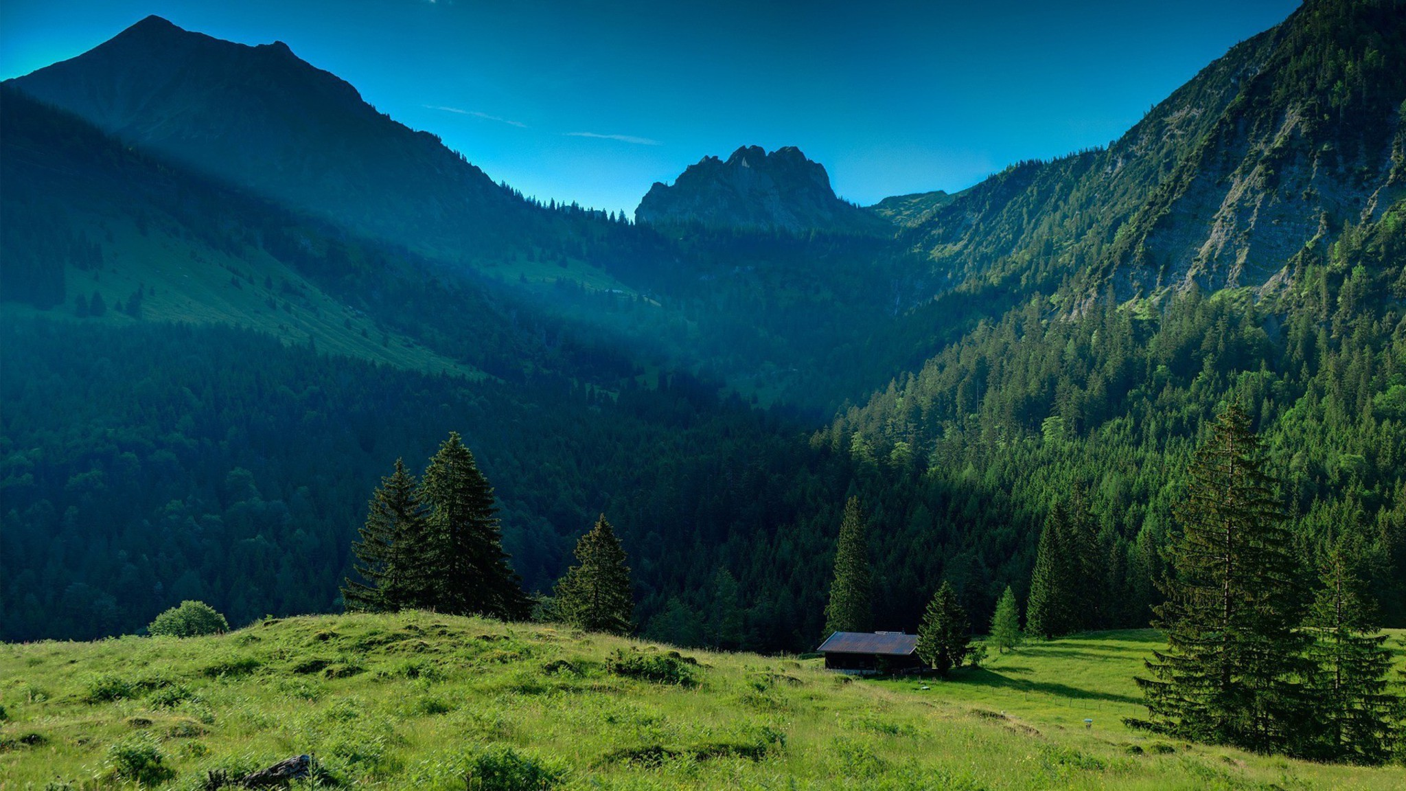 mountains landscapes nature house wallpaper | allwallpaper.in