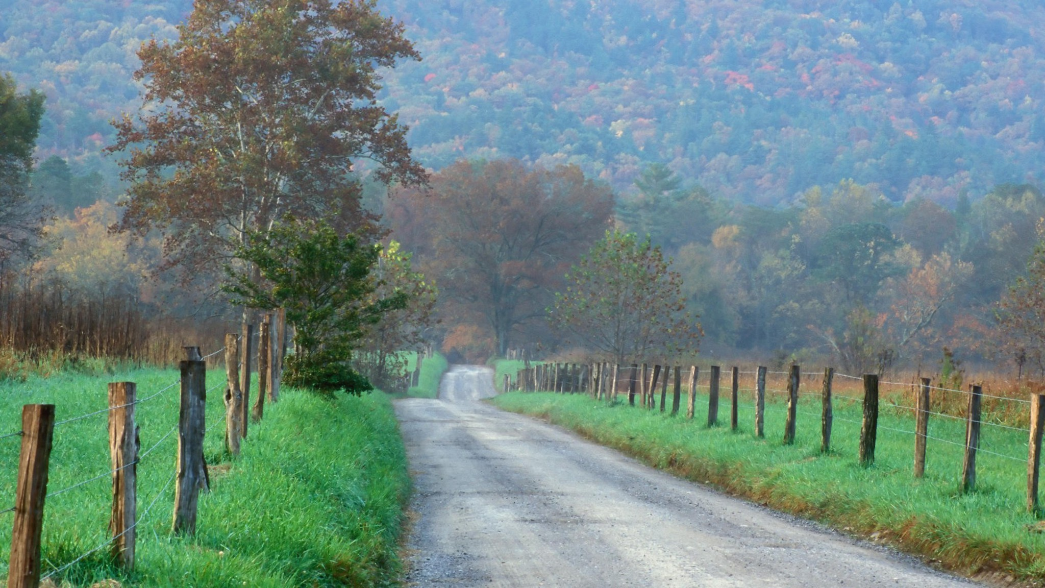 Country Road through Cades Cove, Great Smoky Mountains, Tennessee загрузить